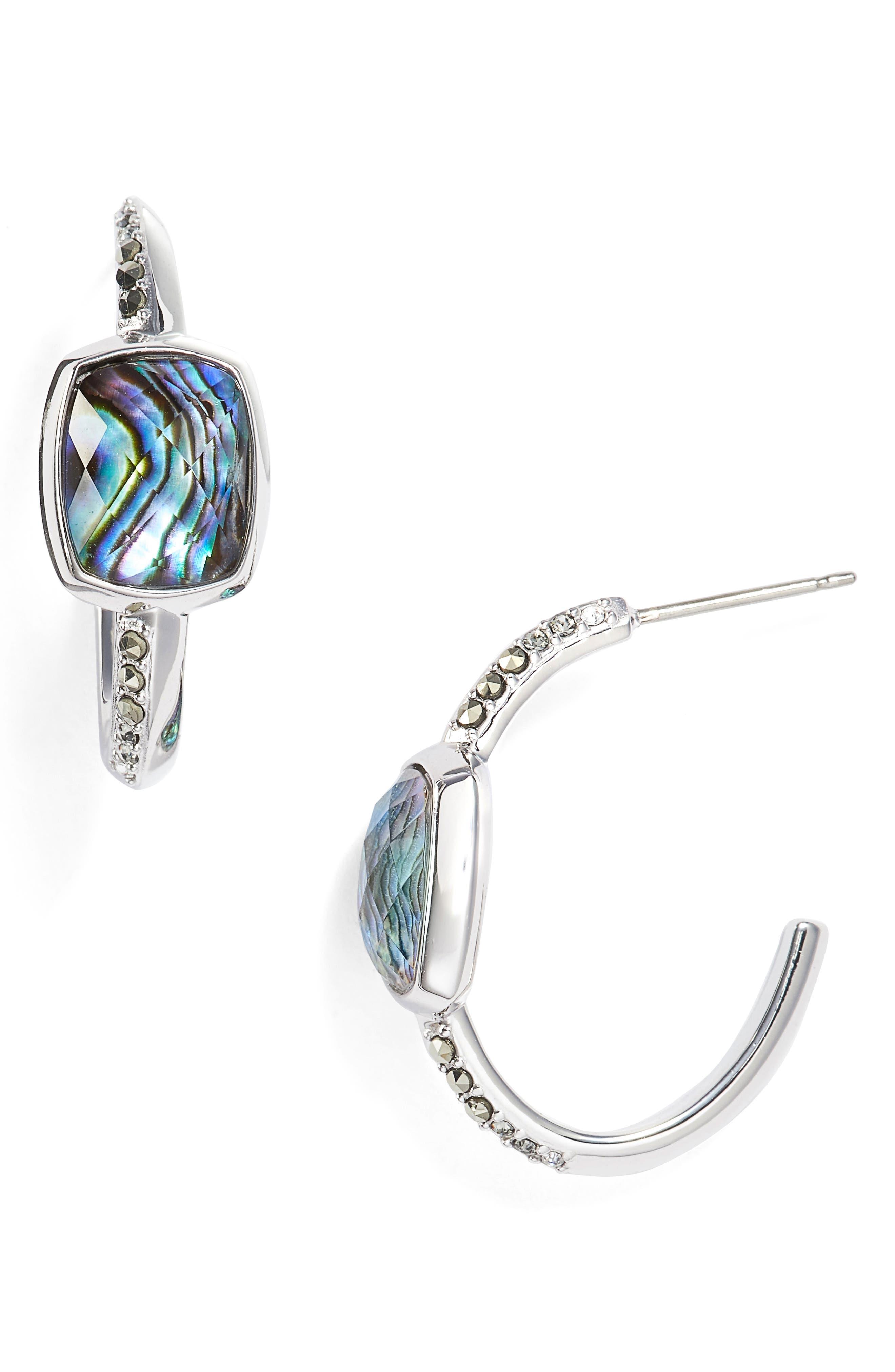 JUDITH JACK Abalone Hoop Earrings