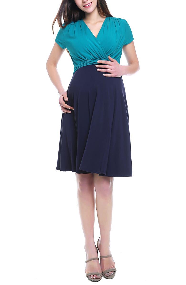 Kimi  Kai Sarah Faux Wrap Maternity/Nursing Dress