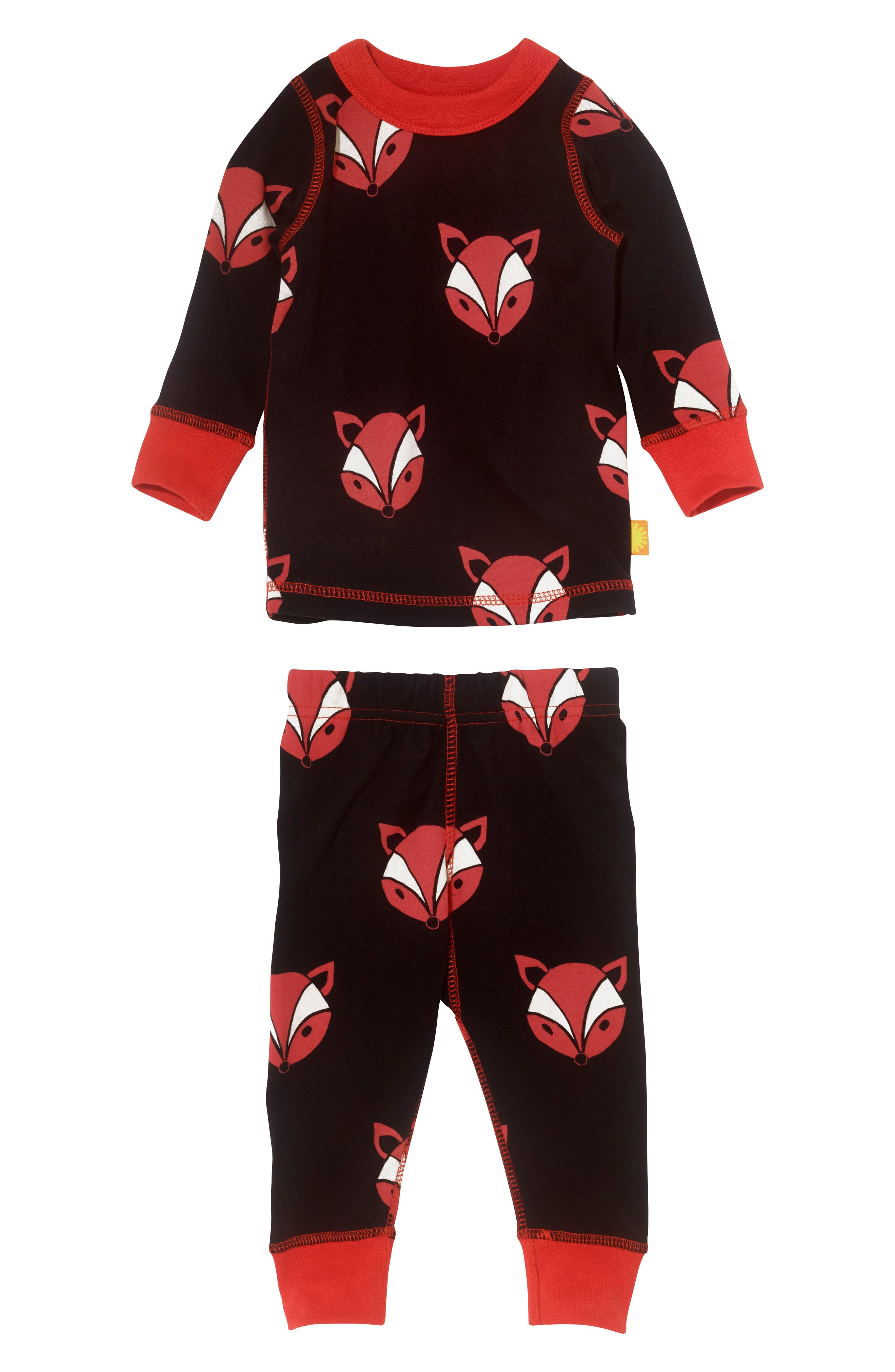 Main Image - Masalababy Fox Organic Cotton Fitted Two-Piece Pajamas (Baby)