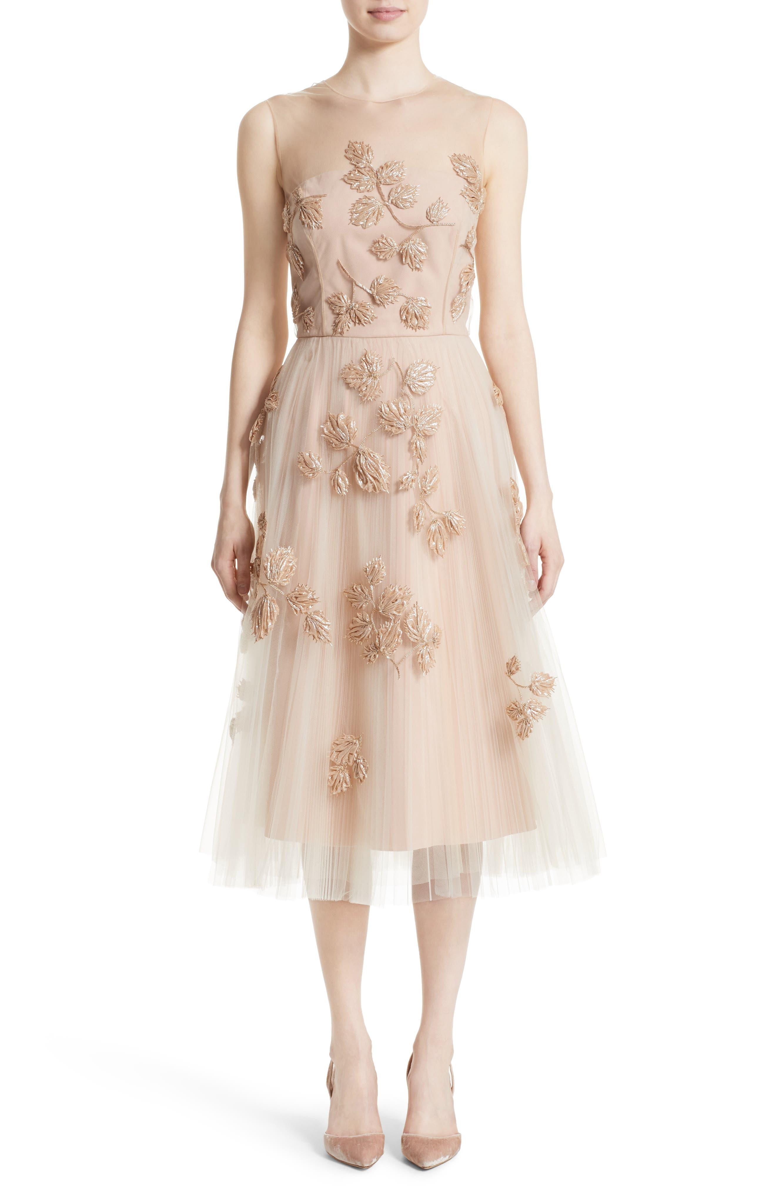 Sequin Leaf Tulle Midi Dress,                             Main thumbnail 1, color,                             Blush