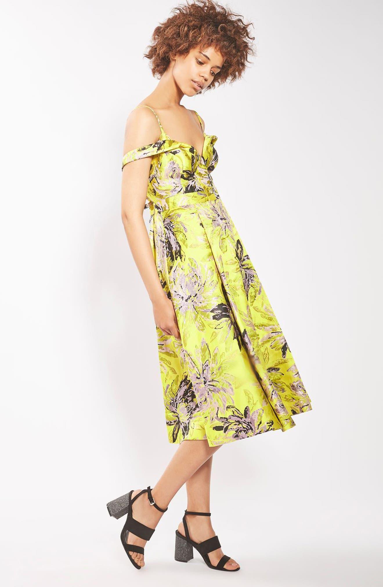 Alternate Image 2  - Topshop Floral Jacquard Midi Dress