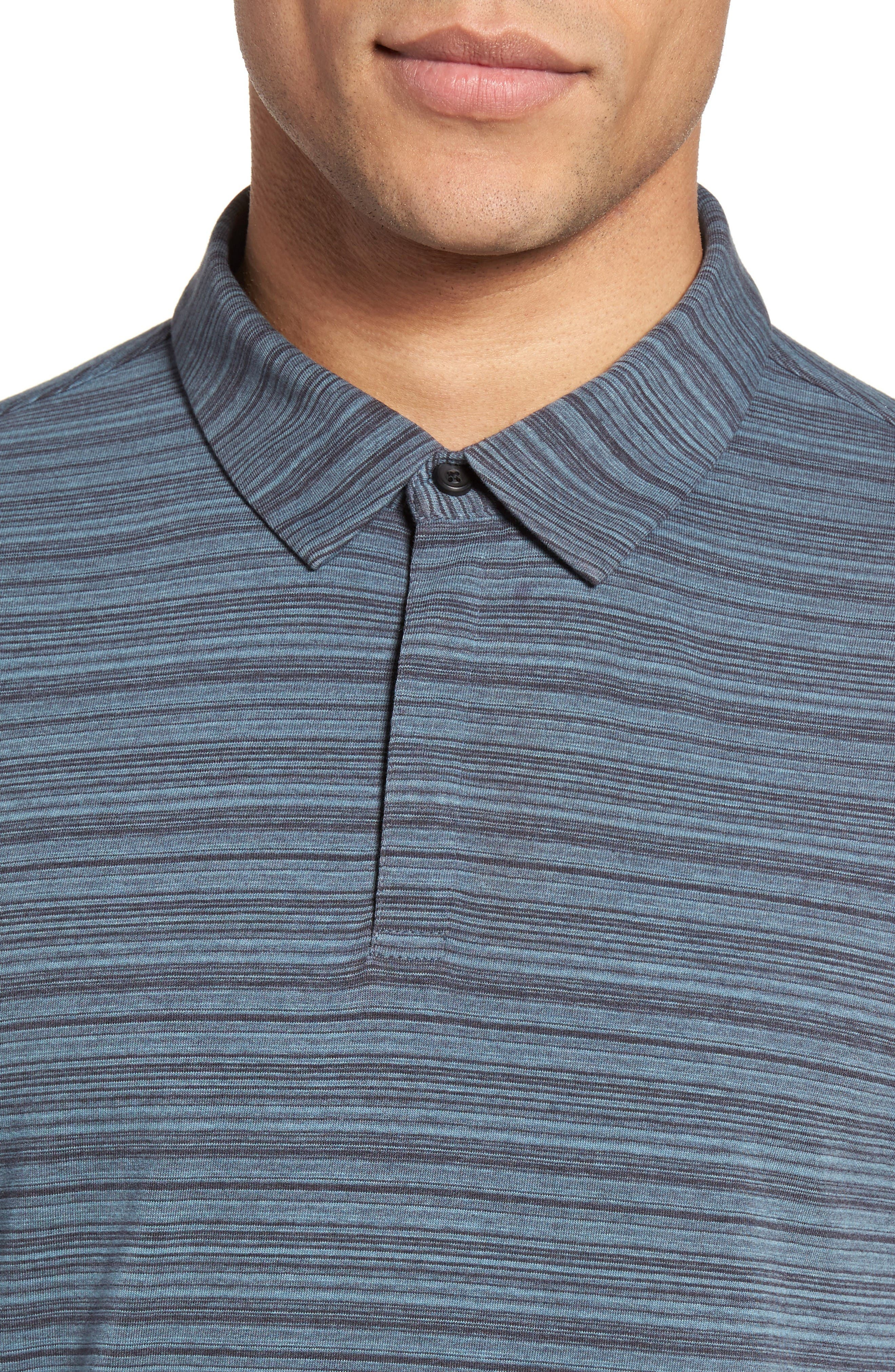 Trim Fit Stripe Polo,                             Alternate thumbnail 4, color,                             Blue Dusk Varied Stripe