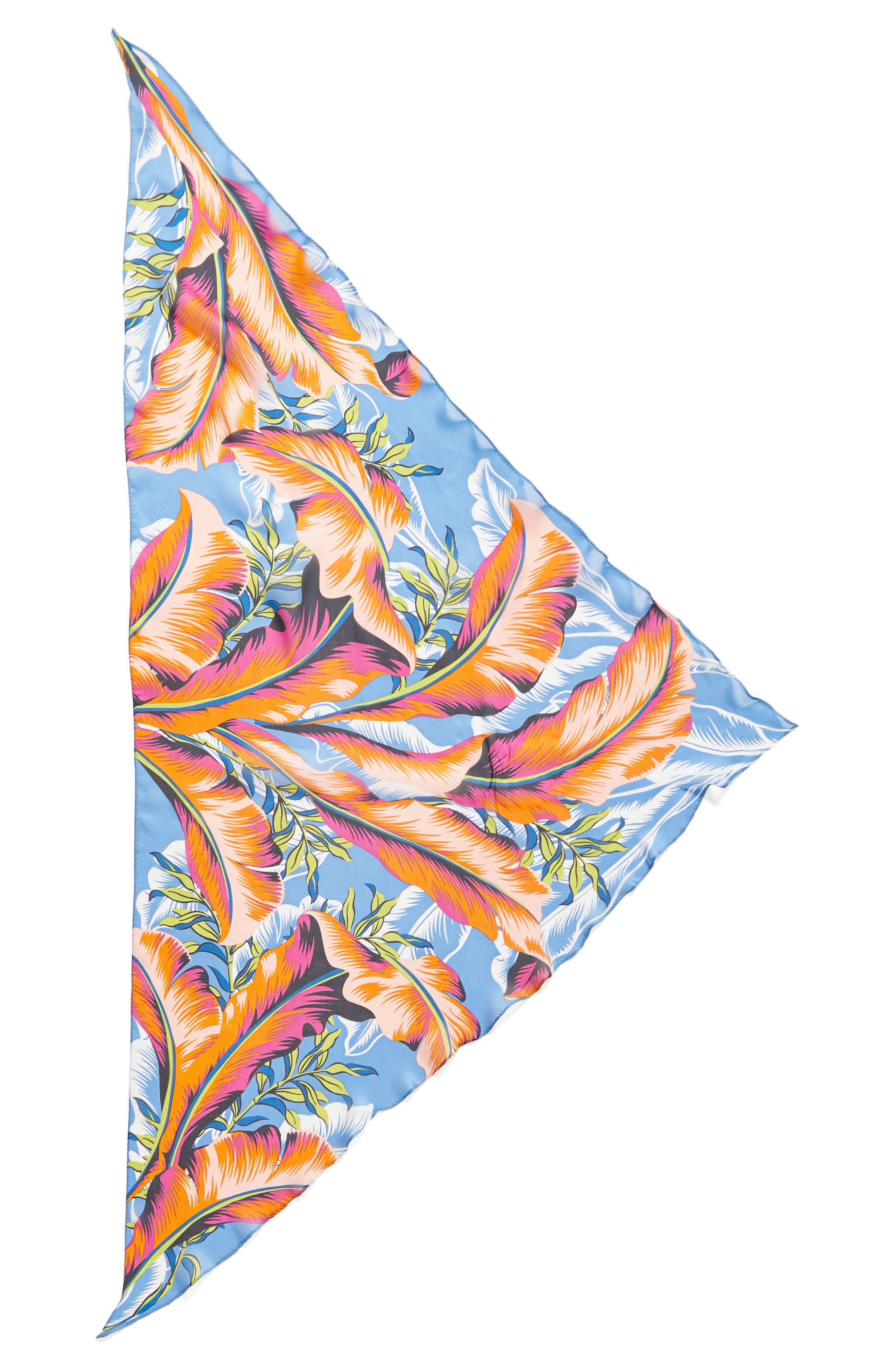 Alternate Image 2  - Echo Palm Print Silk Triangle Scarf