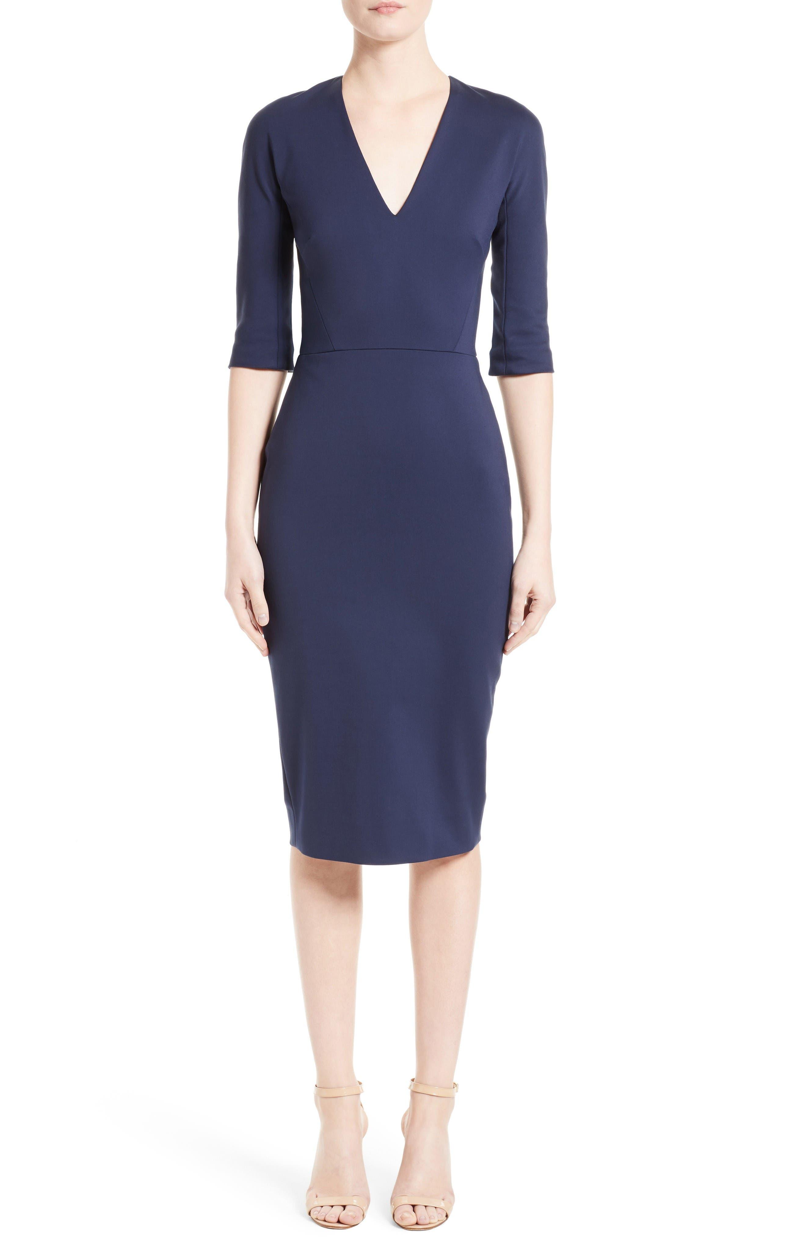Cotton Blend Sheath Dress,                         Main,                         color, Navy