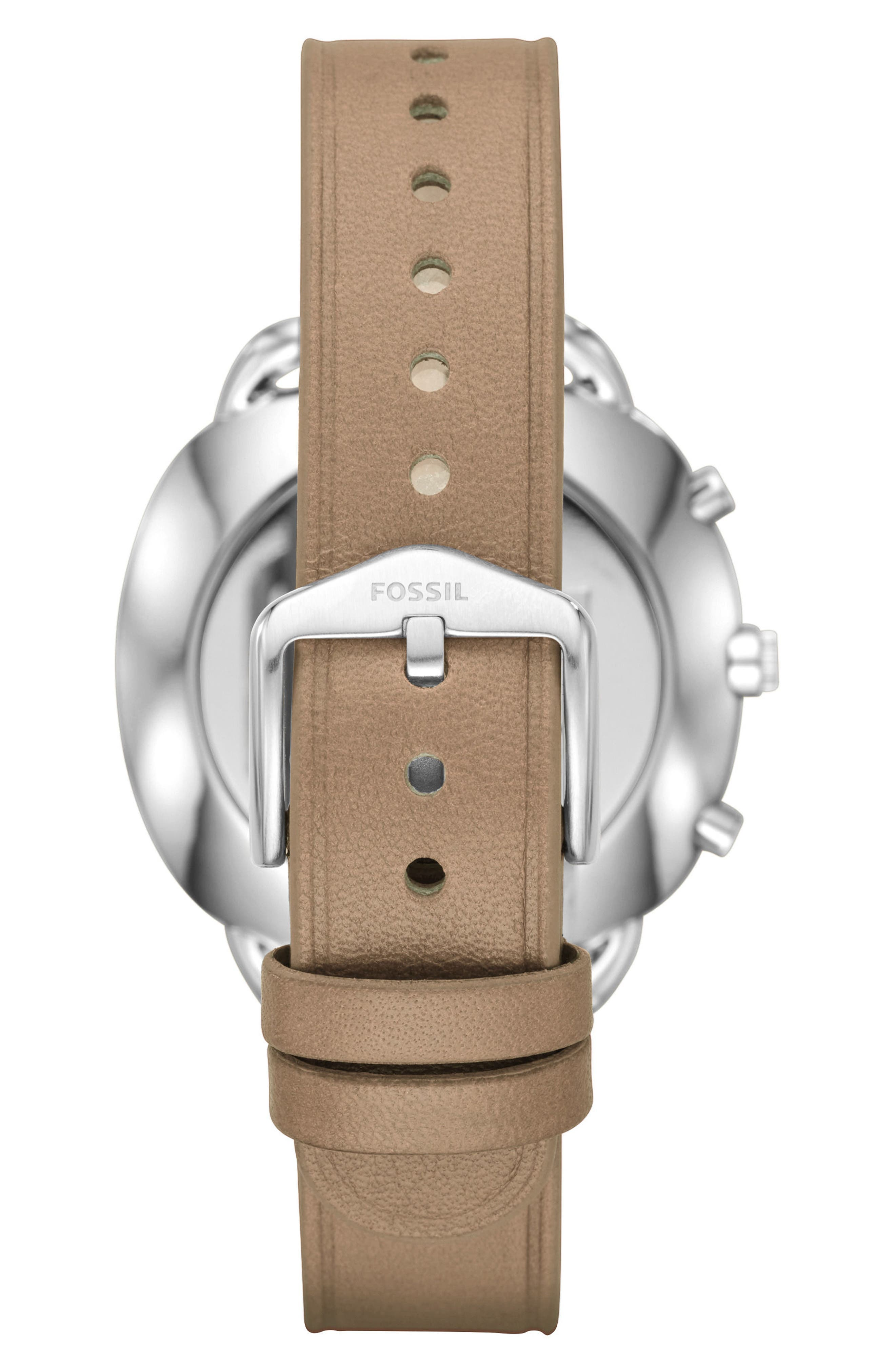 Accomplice Smart Leather Strap Watch, 38mm,                             Alternate thumbnail 3, color,                             Sand/ White/ Rose Gold