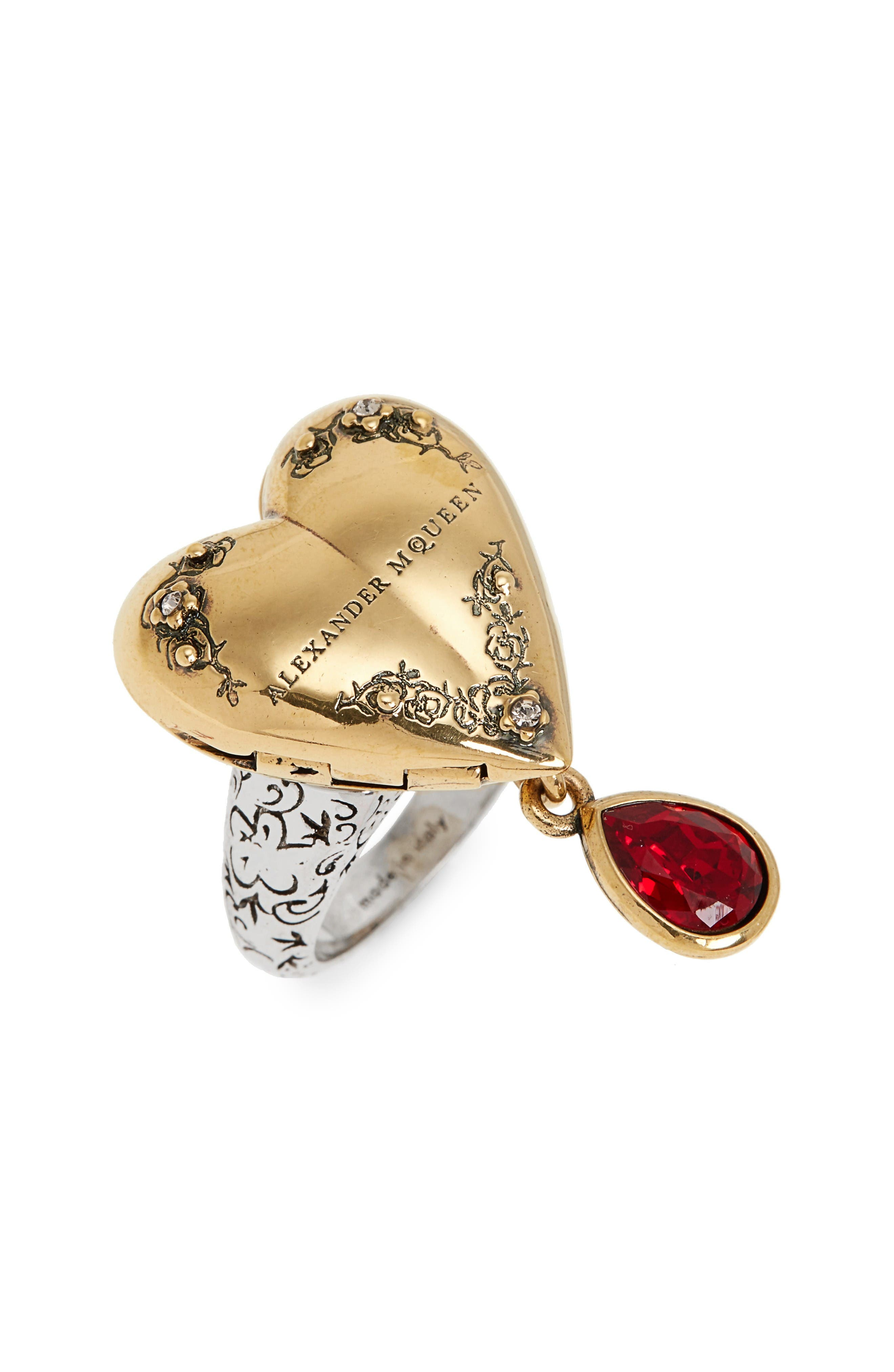 Jeweled Locket Ring,                         Main,                         color, Red