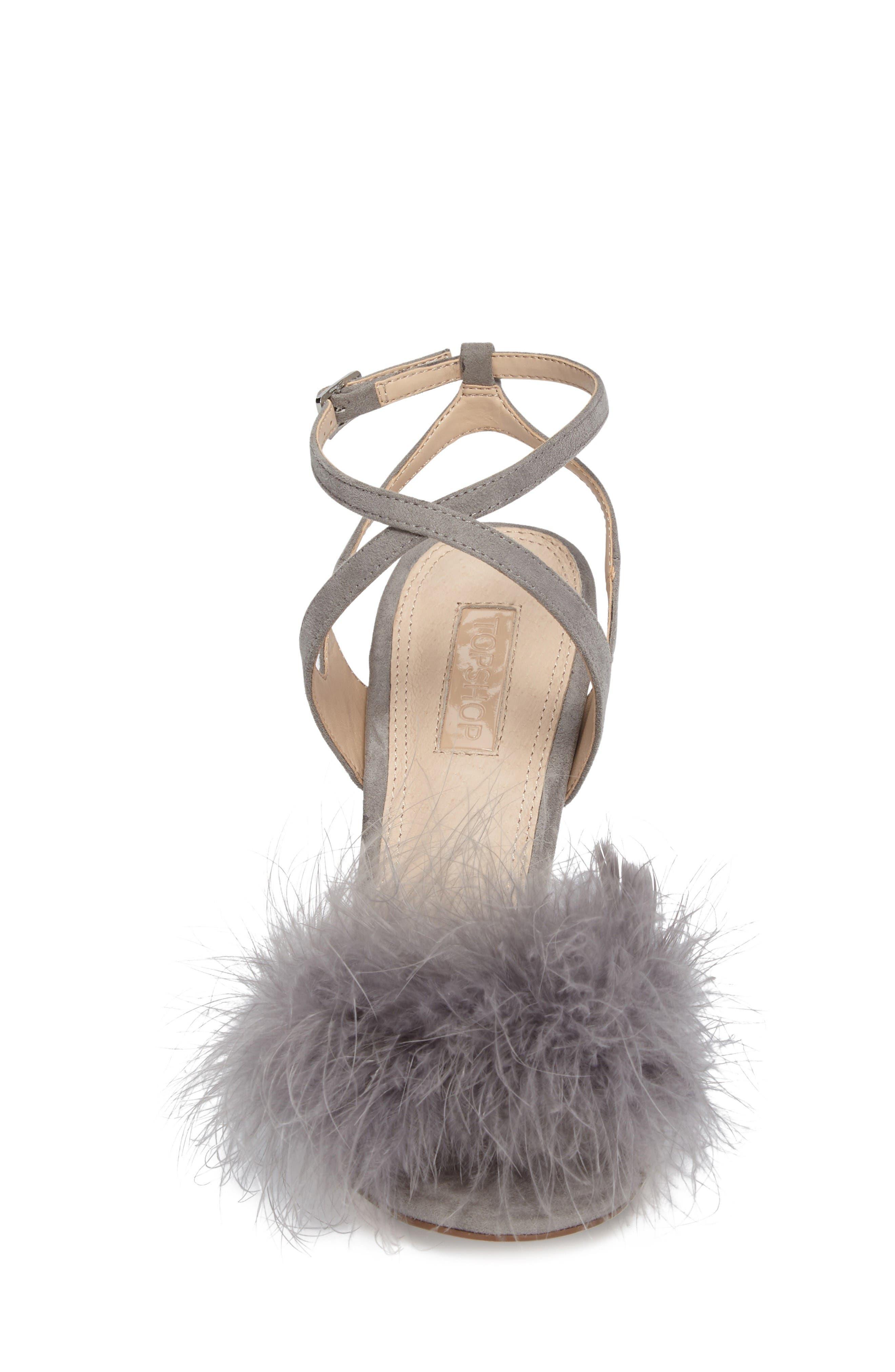 Reine Feathered Sandal,                             Alternate thumbnail 4, color,                             Grey