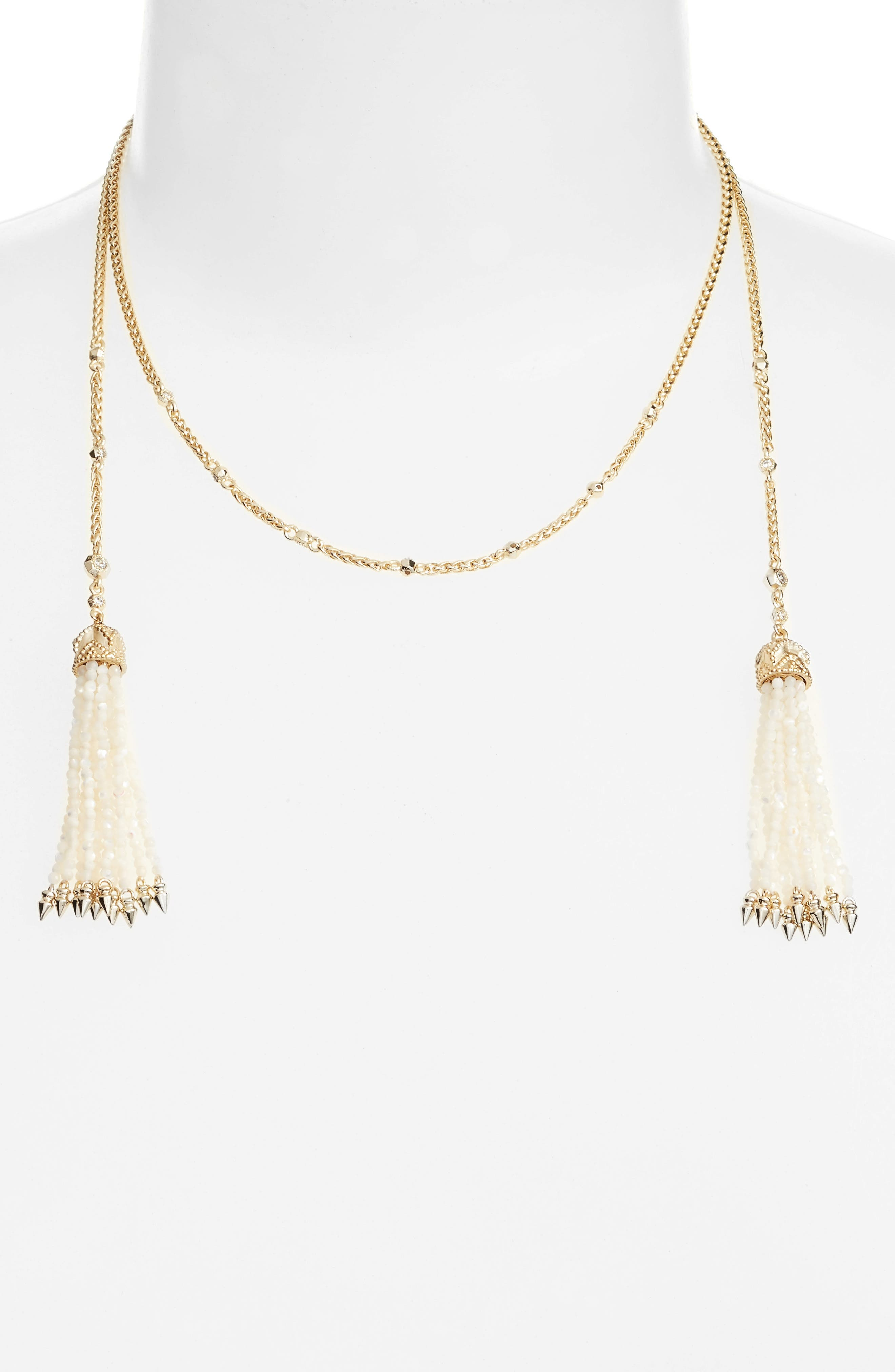 Monique Tassel Necklace,                             Main thumbnail 1, color,                             Ivory Mop/ Gold