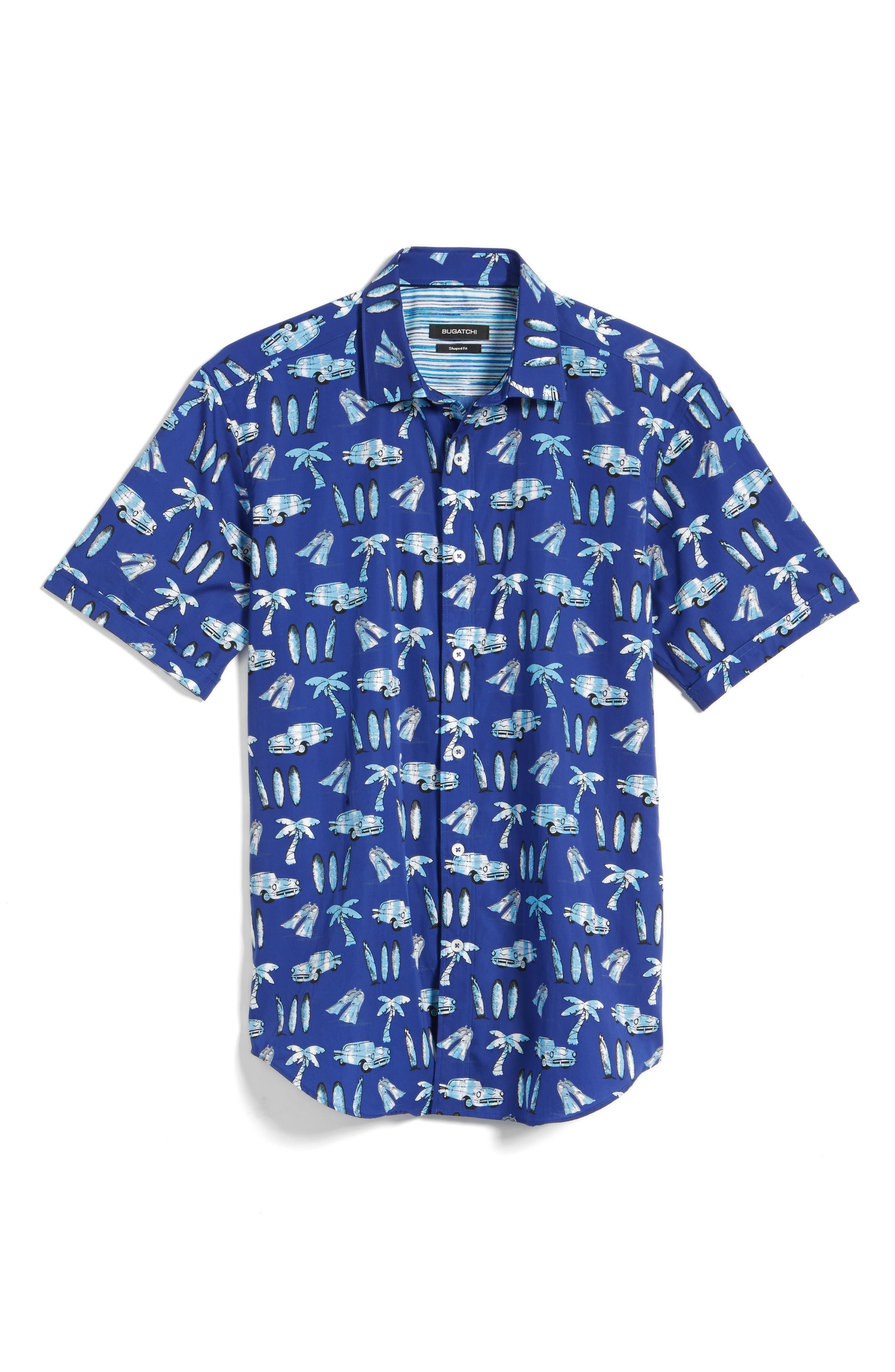 Shaped Fit Beach Print Sport Shirt,                             Alternate thumbnail 6, color,                             Navy