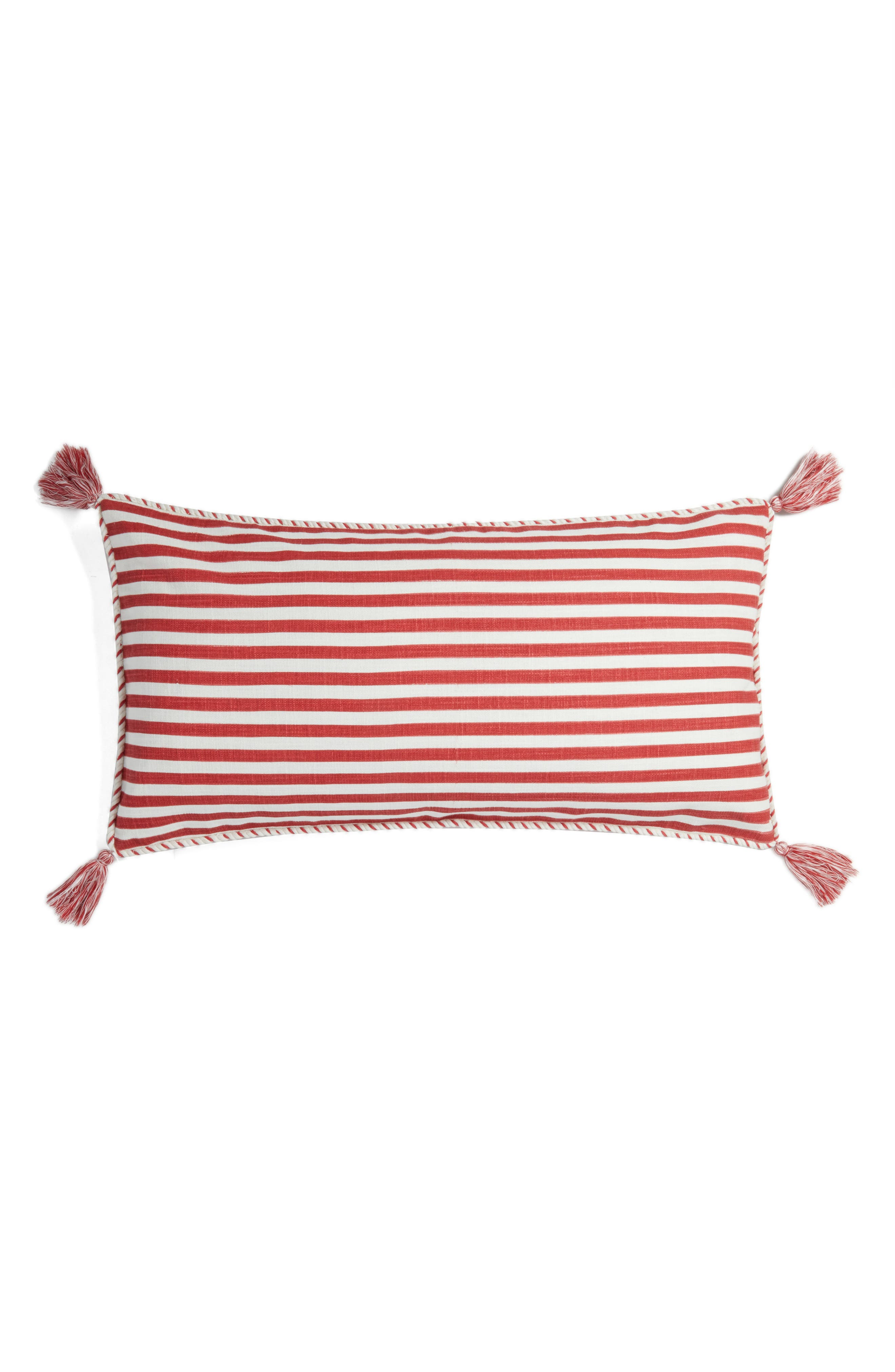 Stripe Tassel Accent Pillow,                             Main thumbnail 1, color,                             Red Cardinal