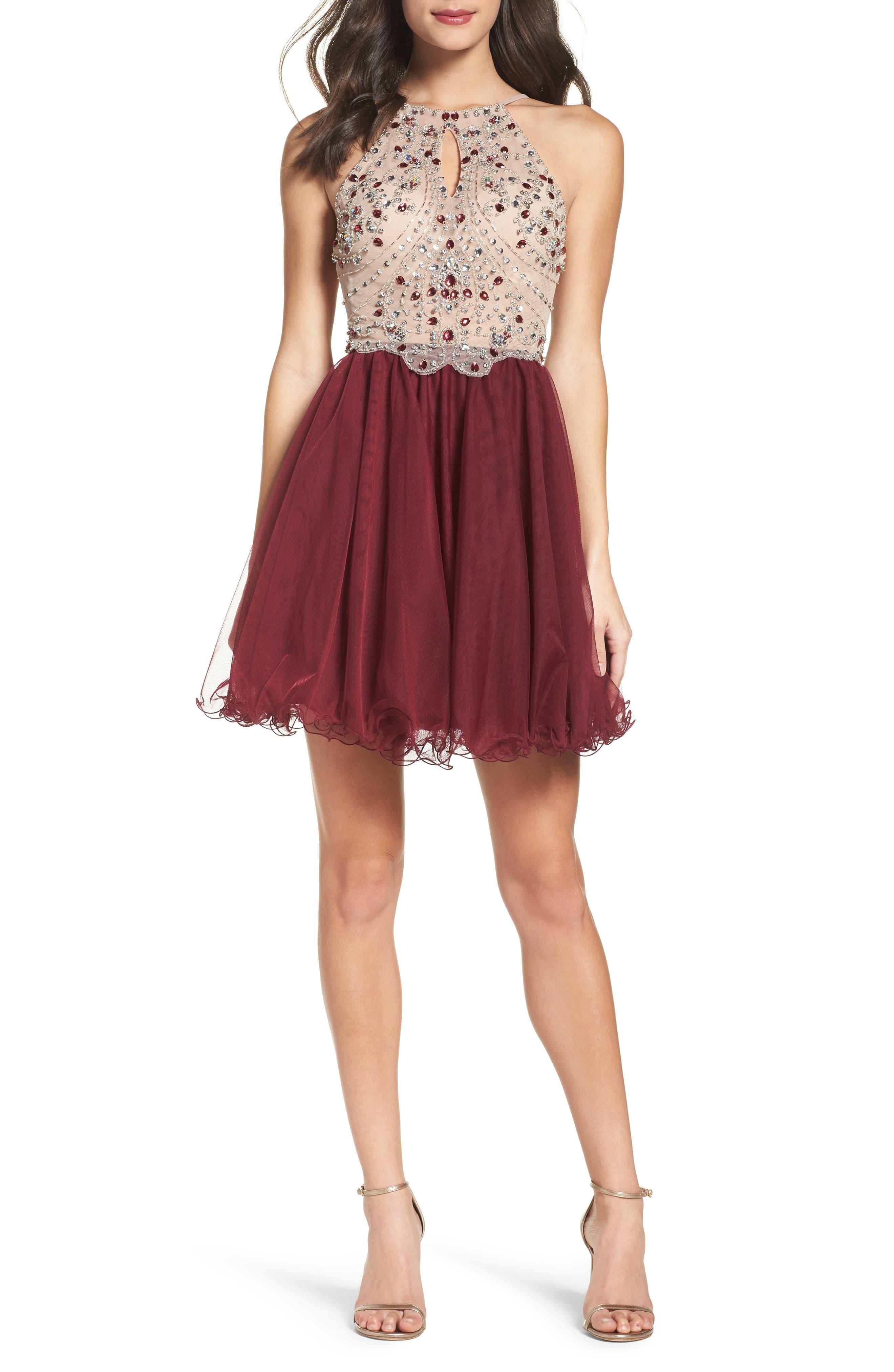 Fit & Flare Dress,                         Main,                         color, Nude/ Wine