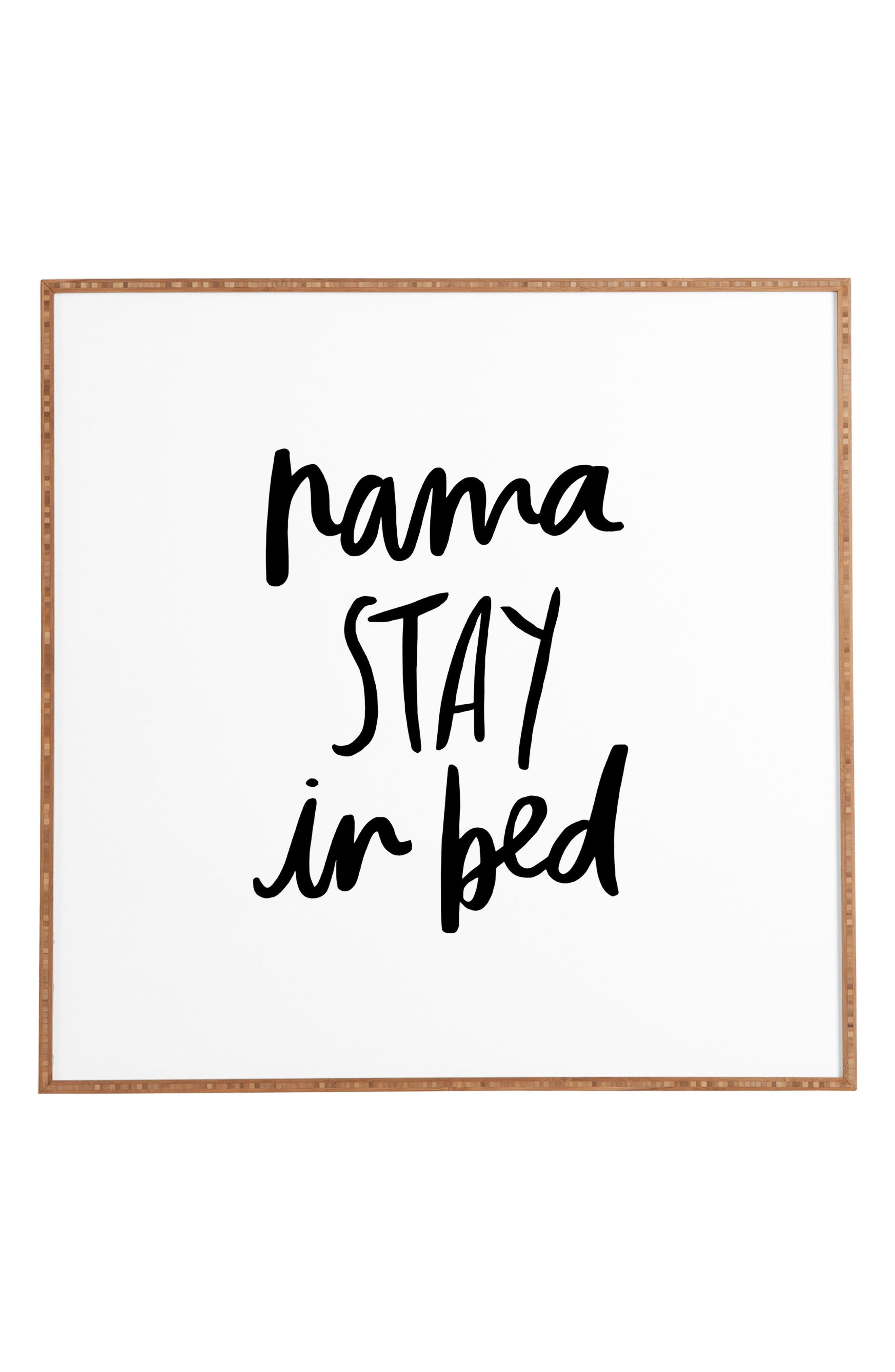 Namastay In Bed Framed Wall Art,                             Main thumbnail 1, color,                             White