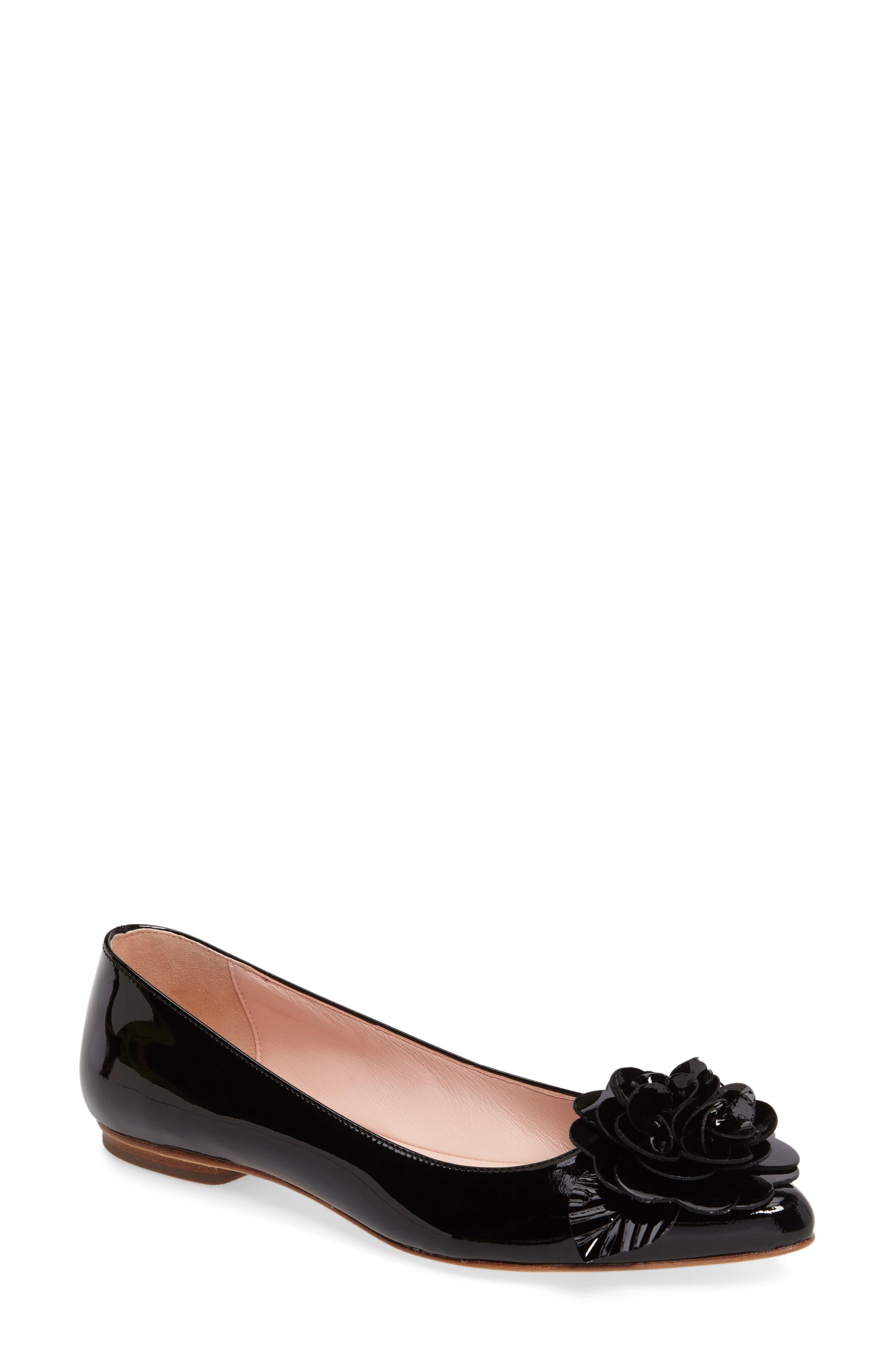 ellie pointy toe flat,                             Main thumbnail 1, color,                             Black Patent
