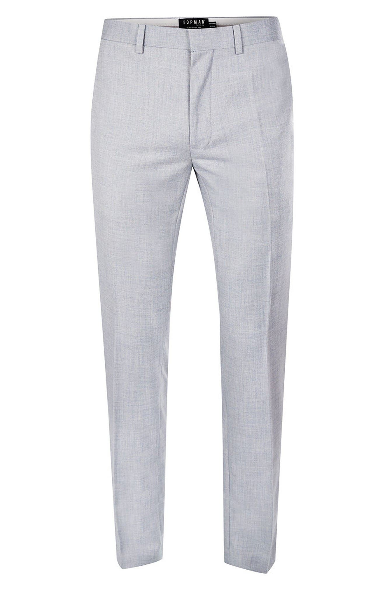 Alternate Image 6  - Topman Skinny Fit Crosshatch Trousers