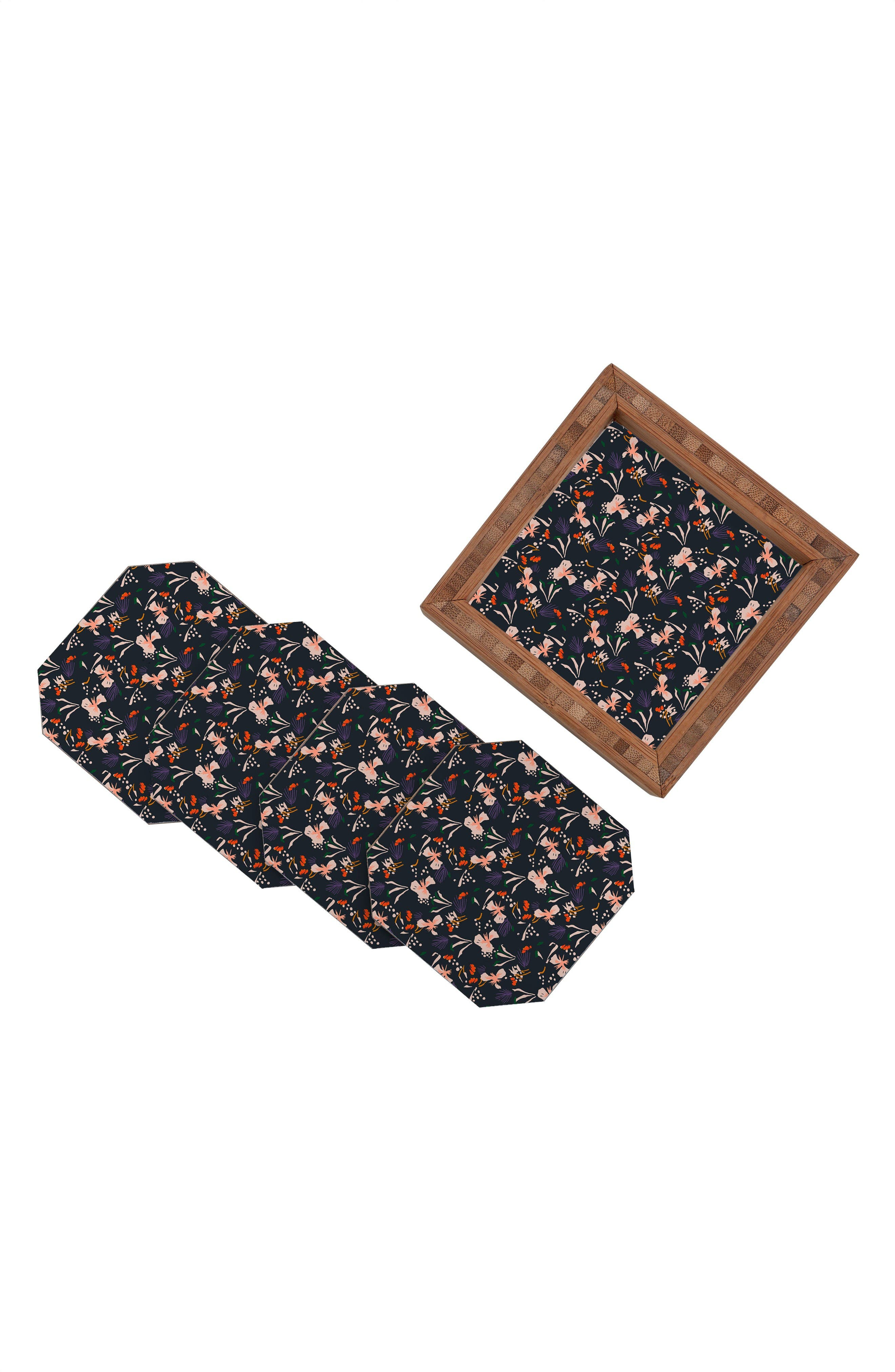 Garden Set of 4 Coasters,                             Alternate thumbnail 2, color,                             Black