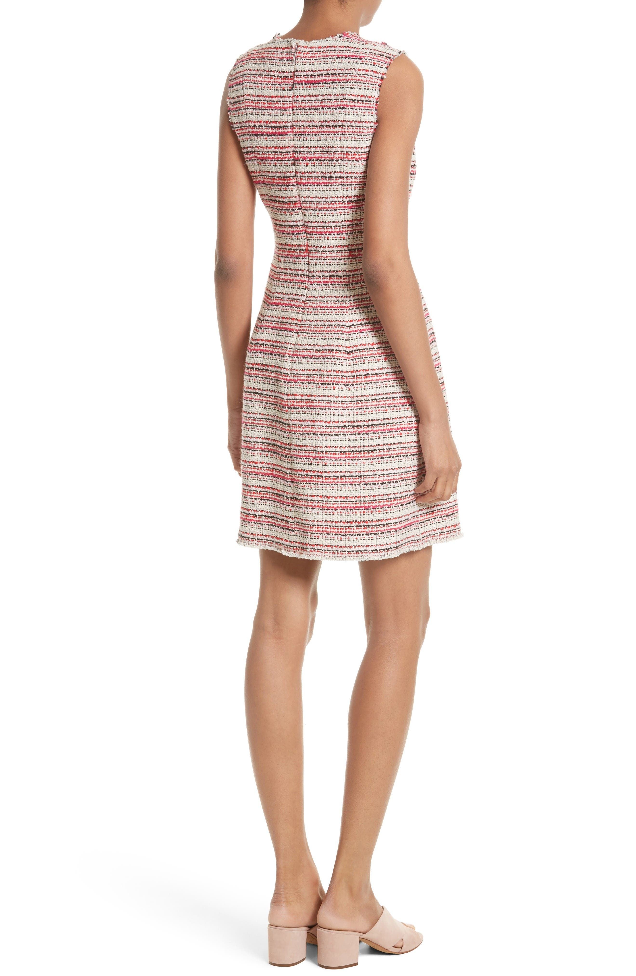Optic Tweed Fit & Flare Dress,                             Alternate thumbnail 2, color,                             Candy Apple Combo