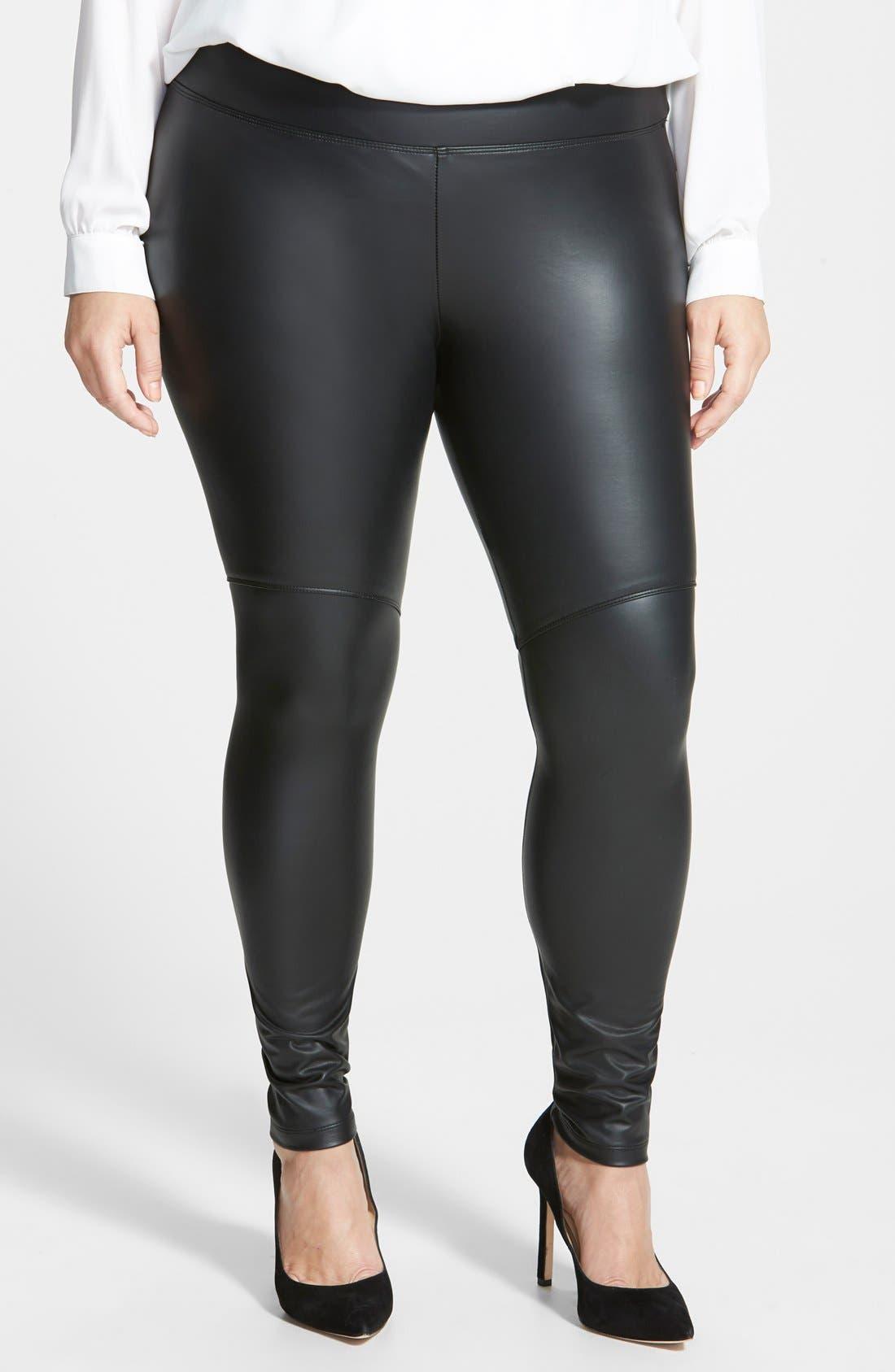 Alternate Image 1 Selected - Lyssé® Faux Leather Leggings (Plus Size)