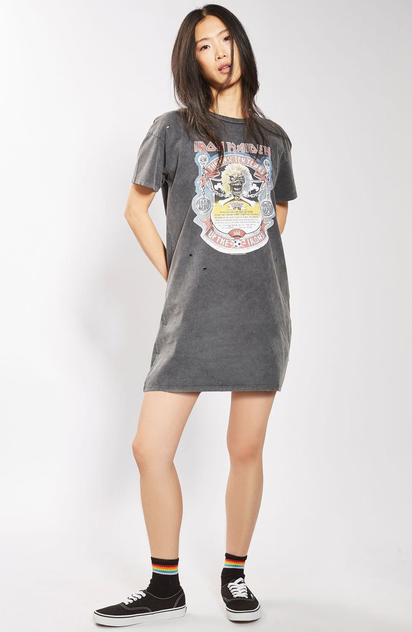 Alternate Image 2  - Topshop by And Finally Iron Maiden T-Shirt Dress