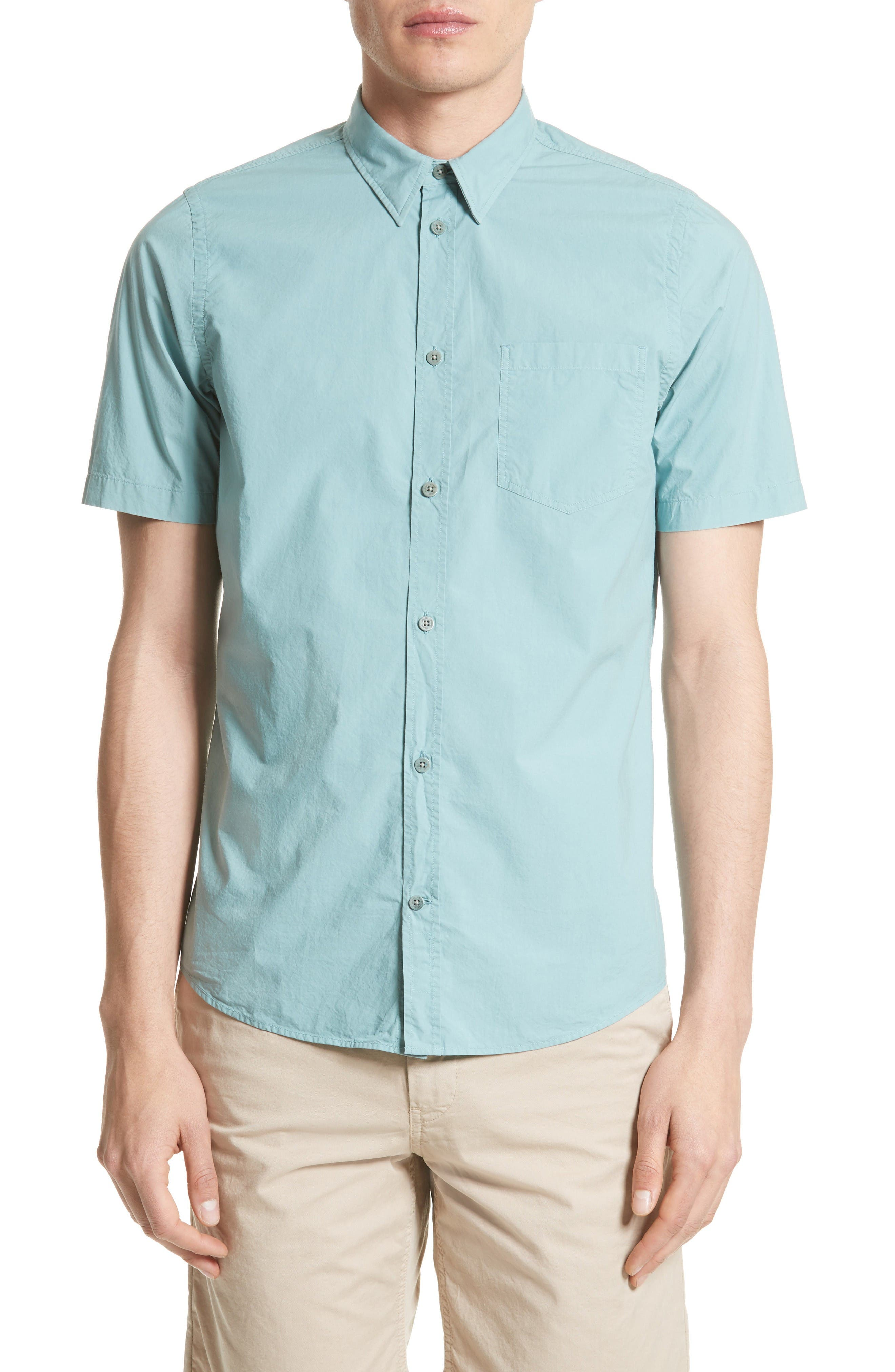Anton Trim Fit Sport Shirt,                         Main,                         color, Copper Green