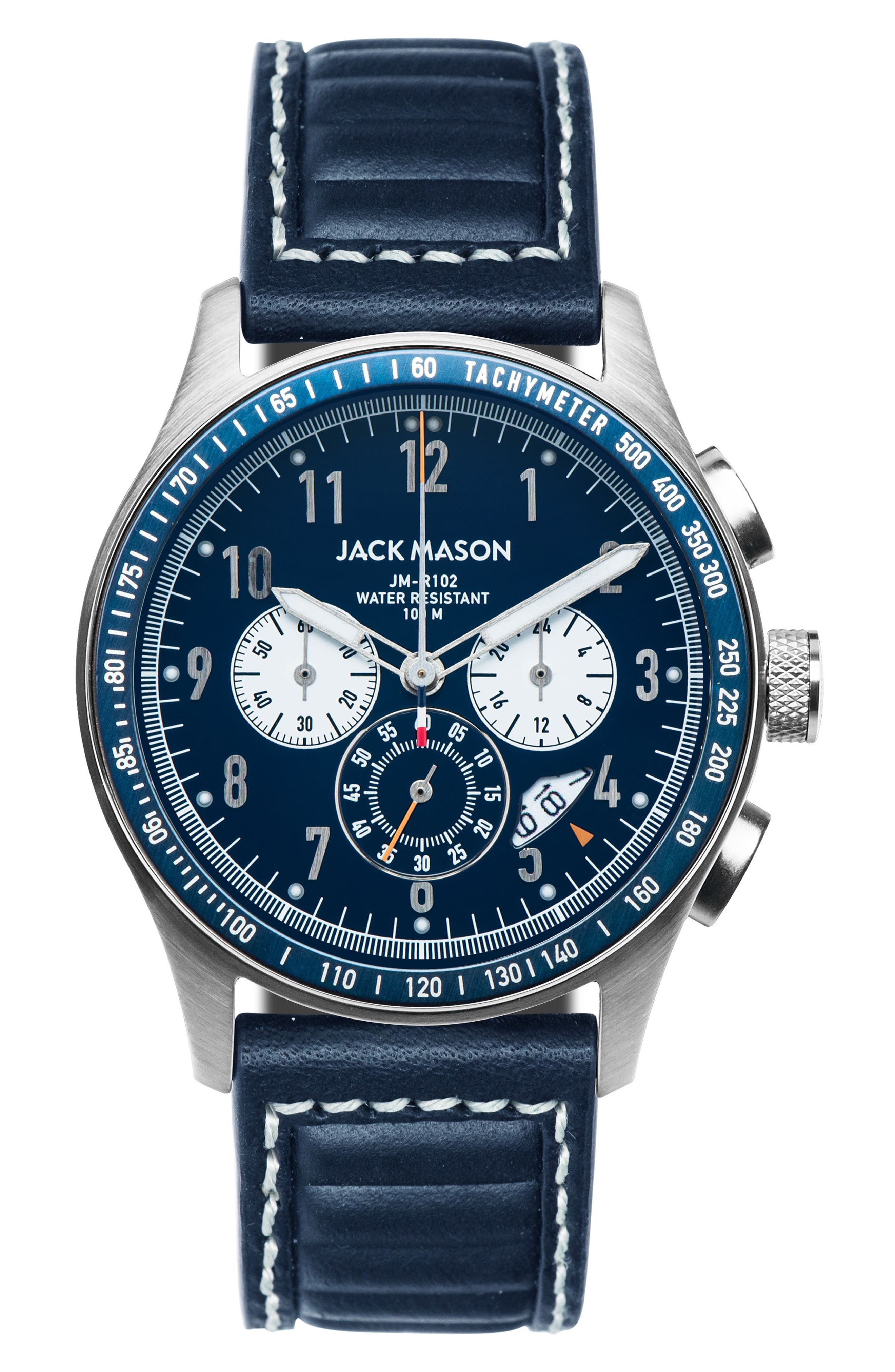 Racing Chronograph Leather Strap Watch, 42mm,                         Main,                         color, Navy