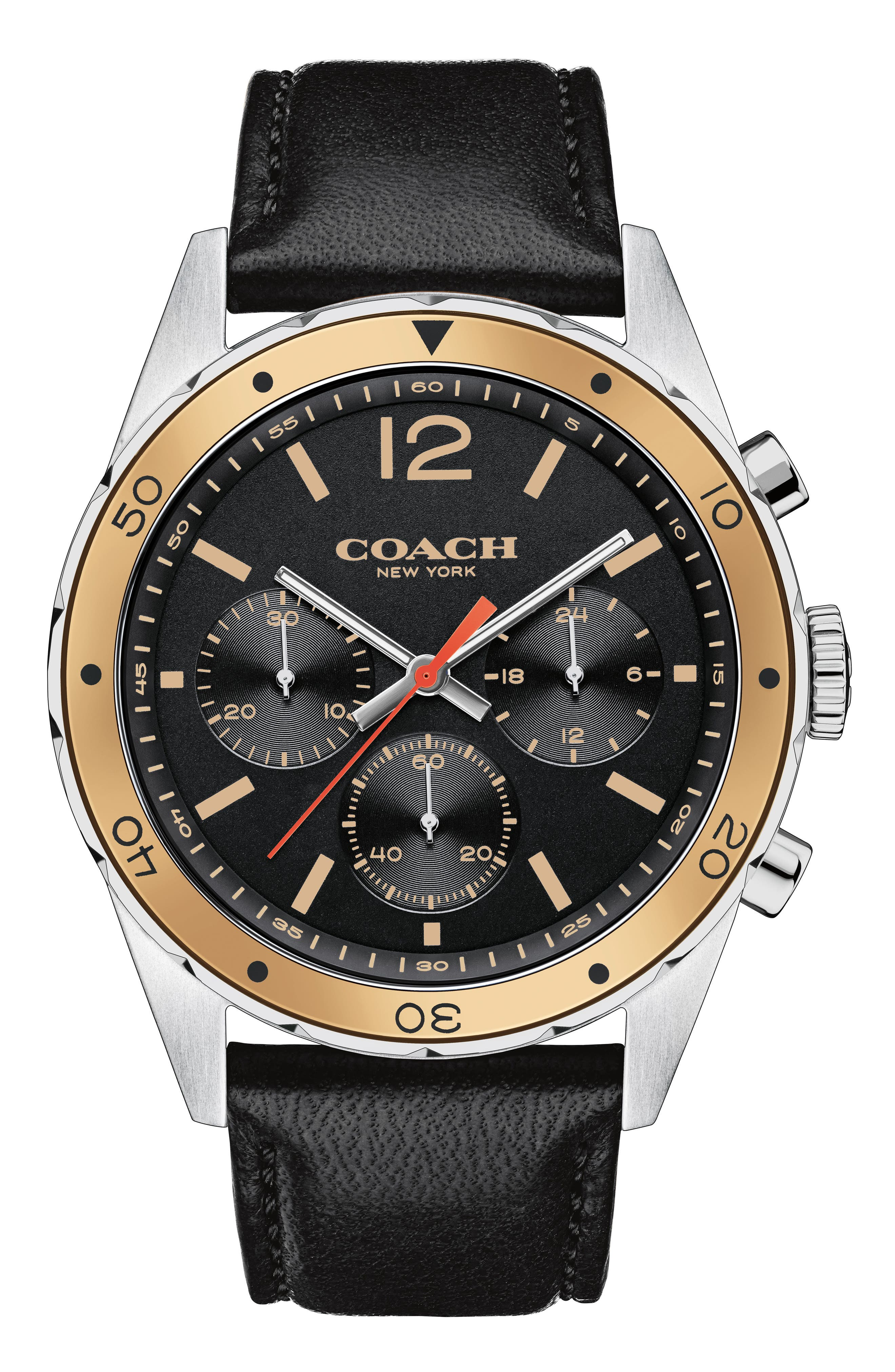 Sullivan Sport Chronograph Leather Strap Watch, 44mm,                             Main thumbnail 1, color,                             Black/ Silver