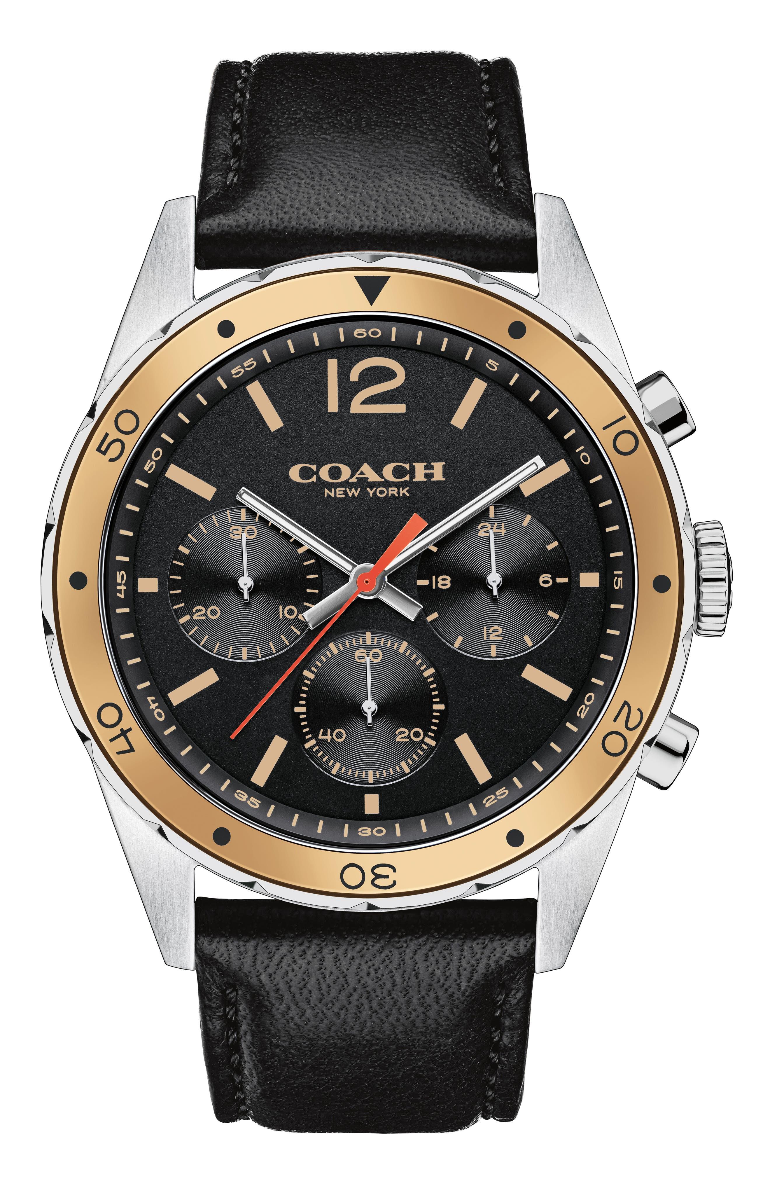 Sullivan Sport Chronograph Leather Strap Watch, 44mm,                         Main,                         color, Black/ Silver