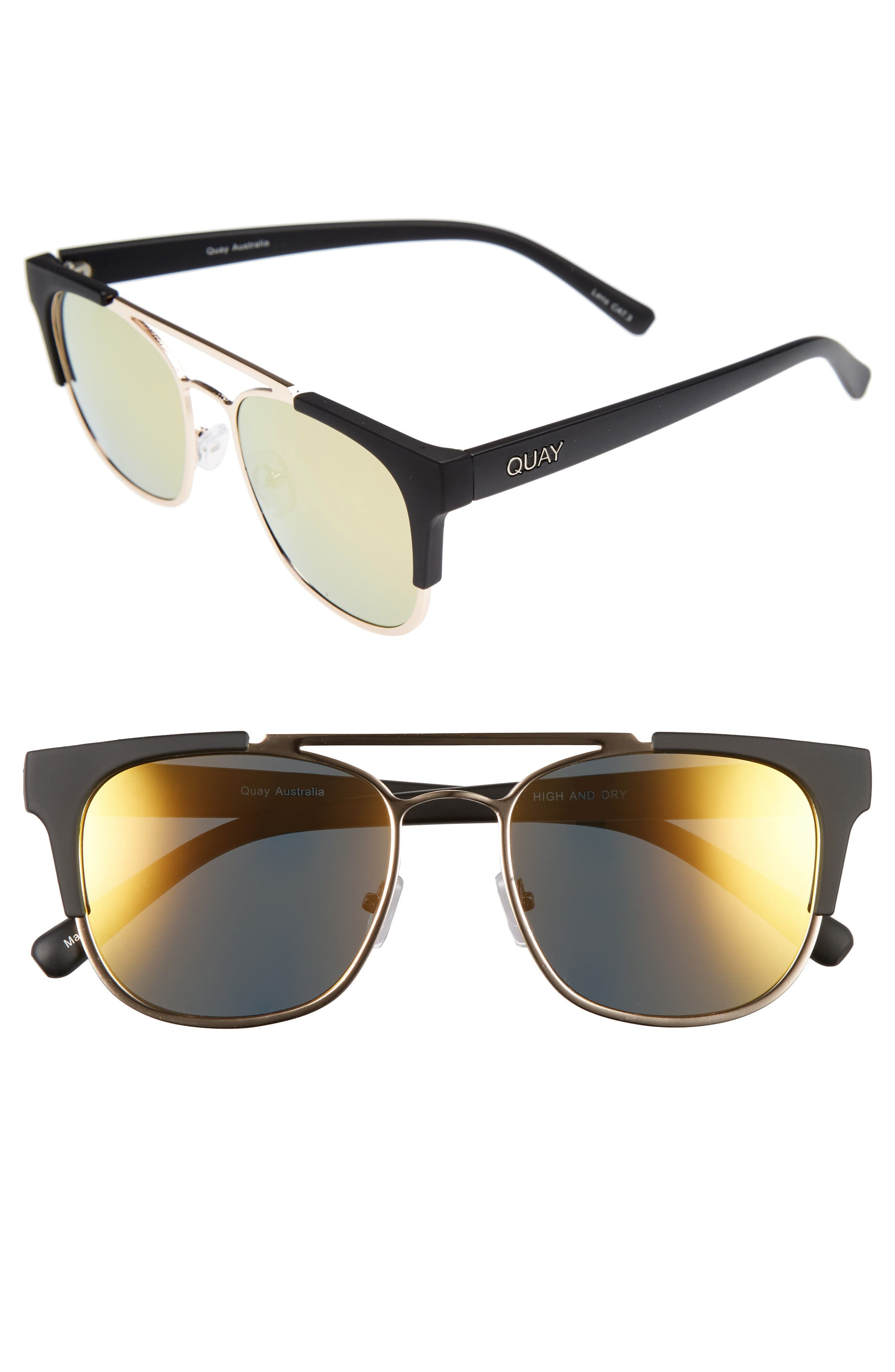 Alternate Image 1 Selected - Quay Australia High & Dry 53mm Mirrored Sunglasses