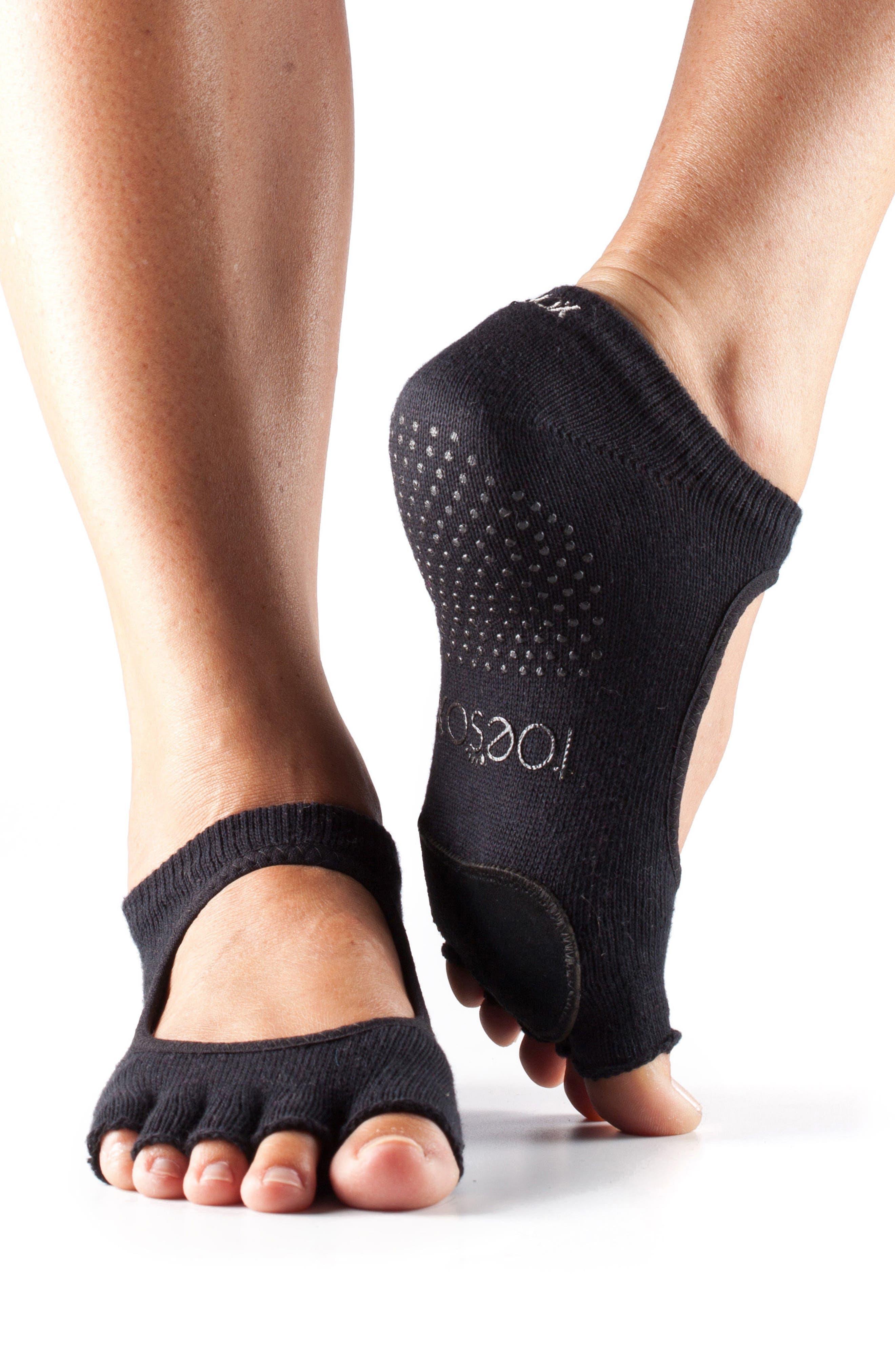 'Dance Plié' Half-Toe Gripper Socks,                             Main thumbnail 1, color,                             Black