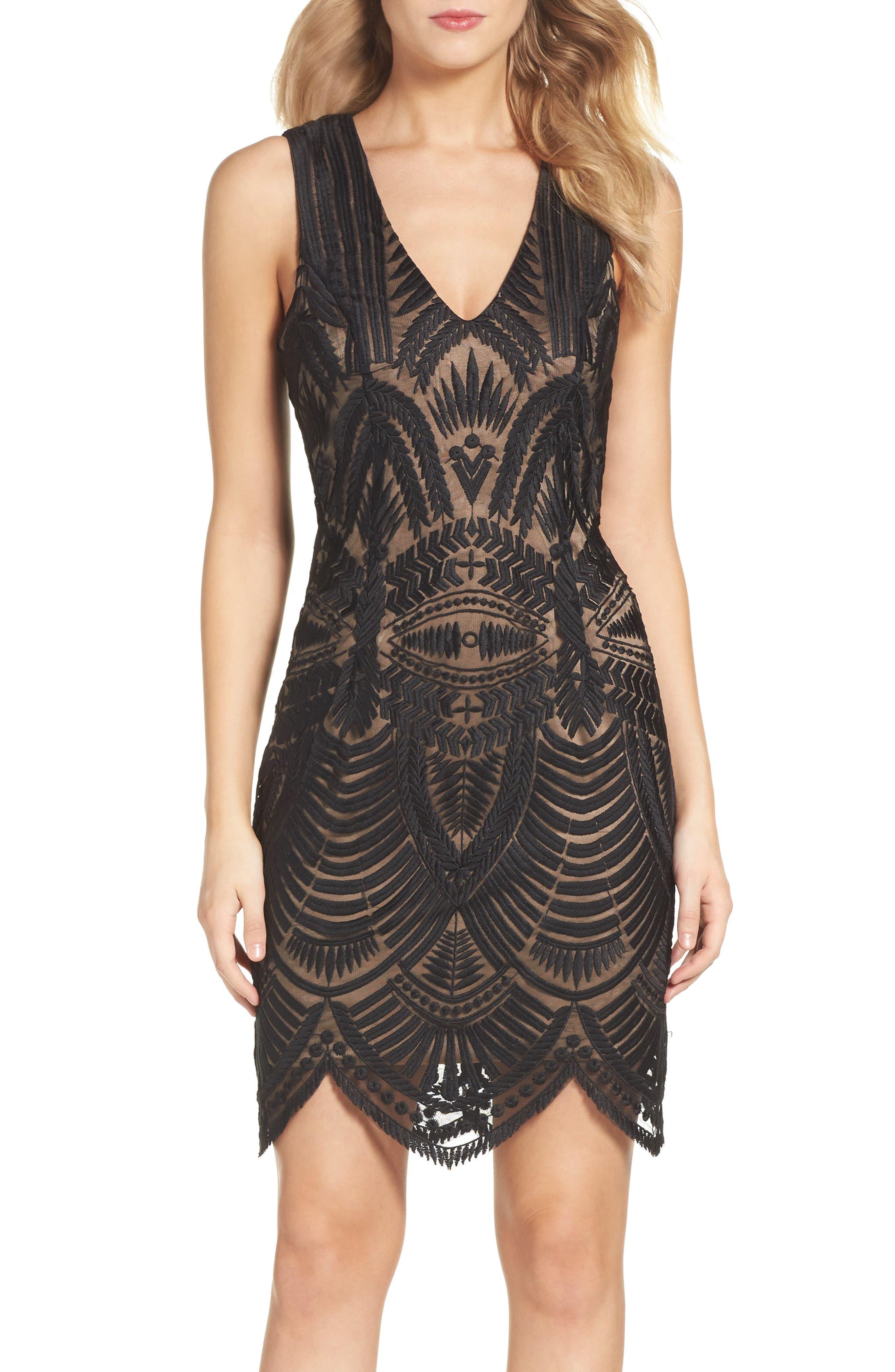 Bardot Embroidered Mesh Dress