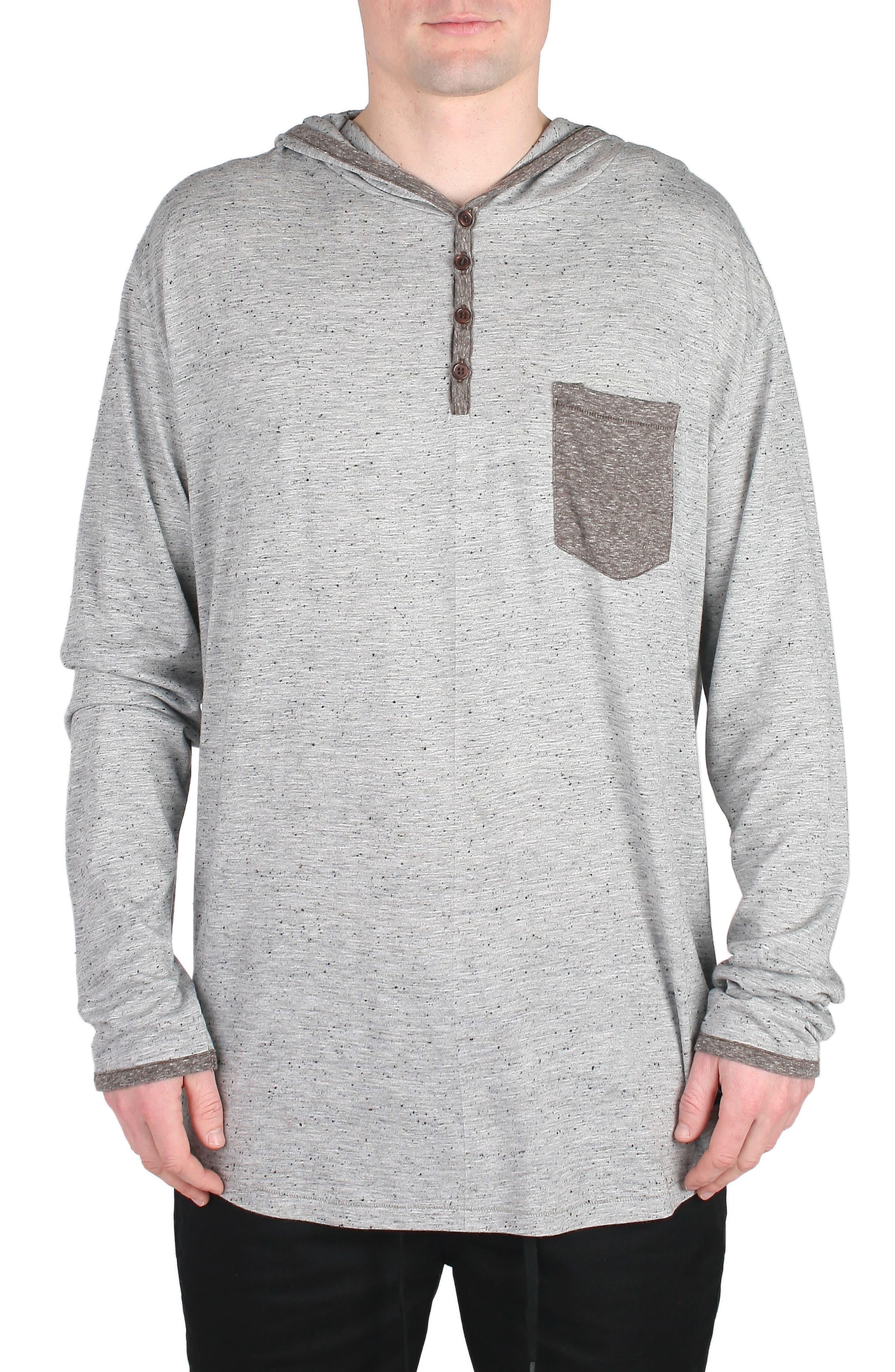 Franco Hooded Henley,                         Main,                         color, Grey Flec