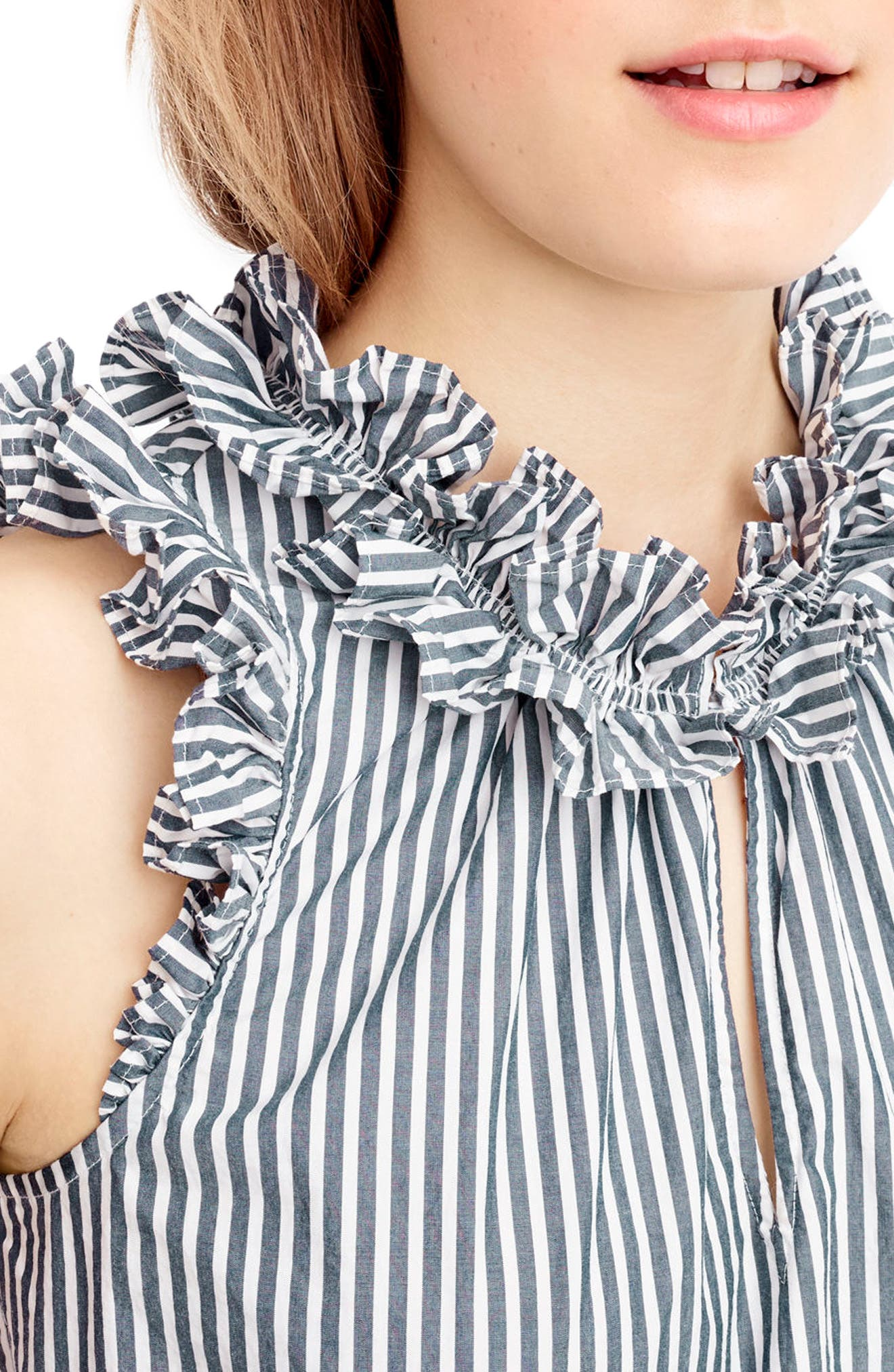 Alternate Image 4  - J.Crew Ruffle Stripe Cotton Poplin Top