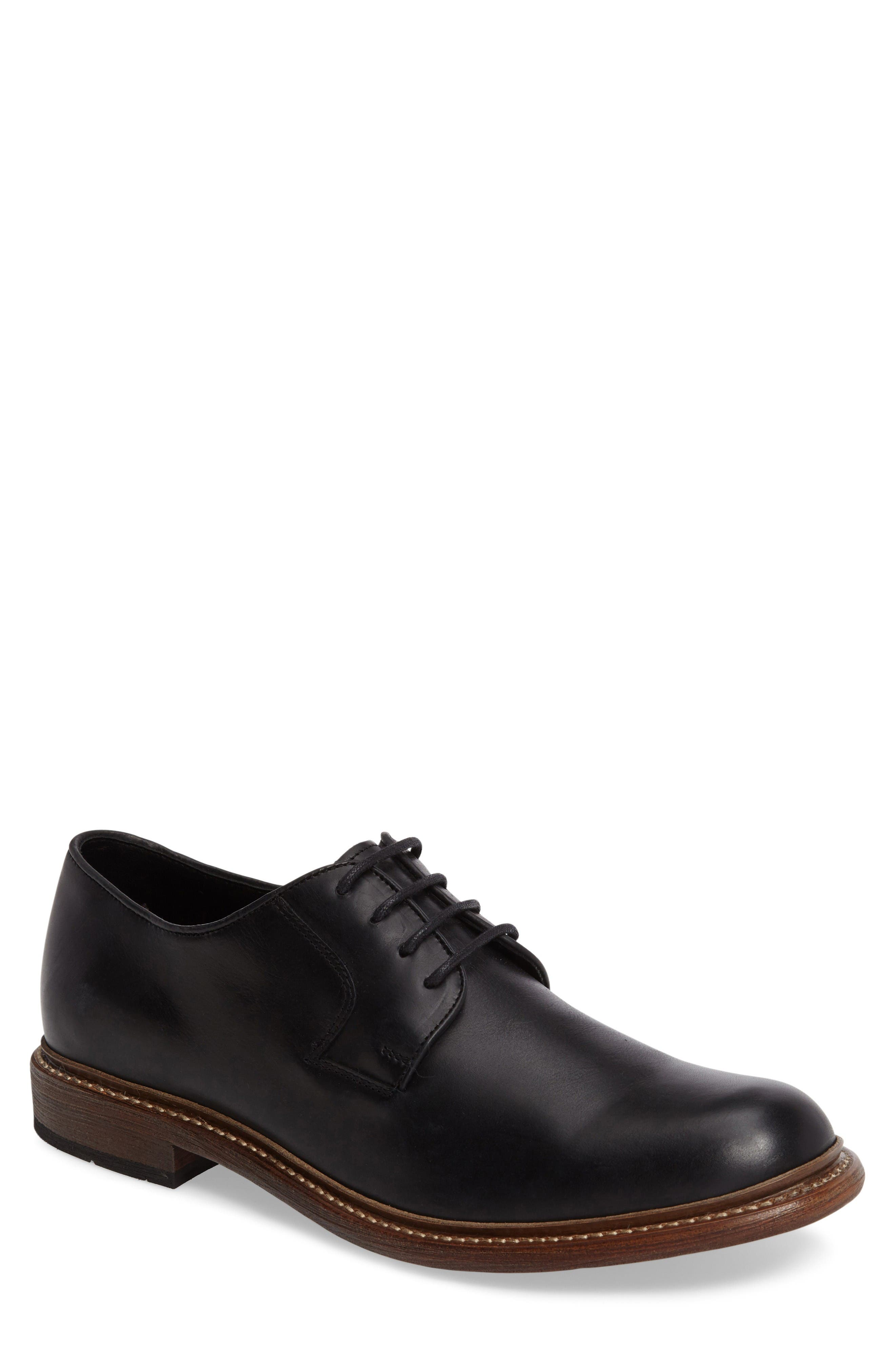 1000 Mile Luke Plain Toe Derby,                         Main,                         color, Black Leather