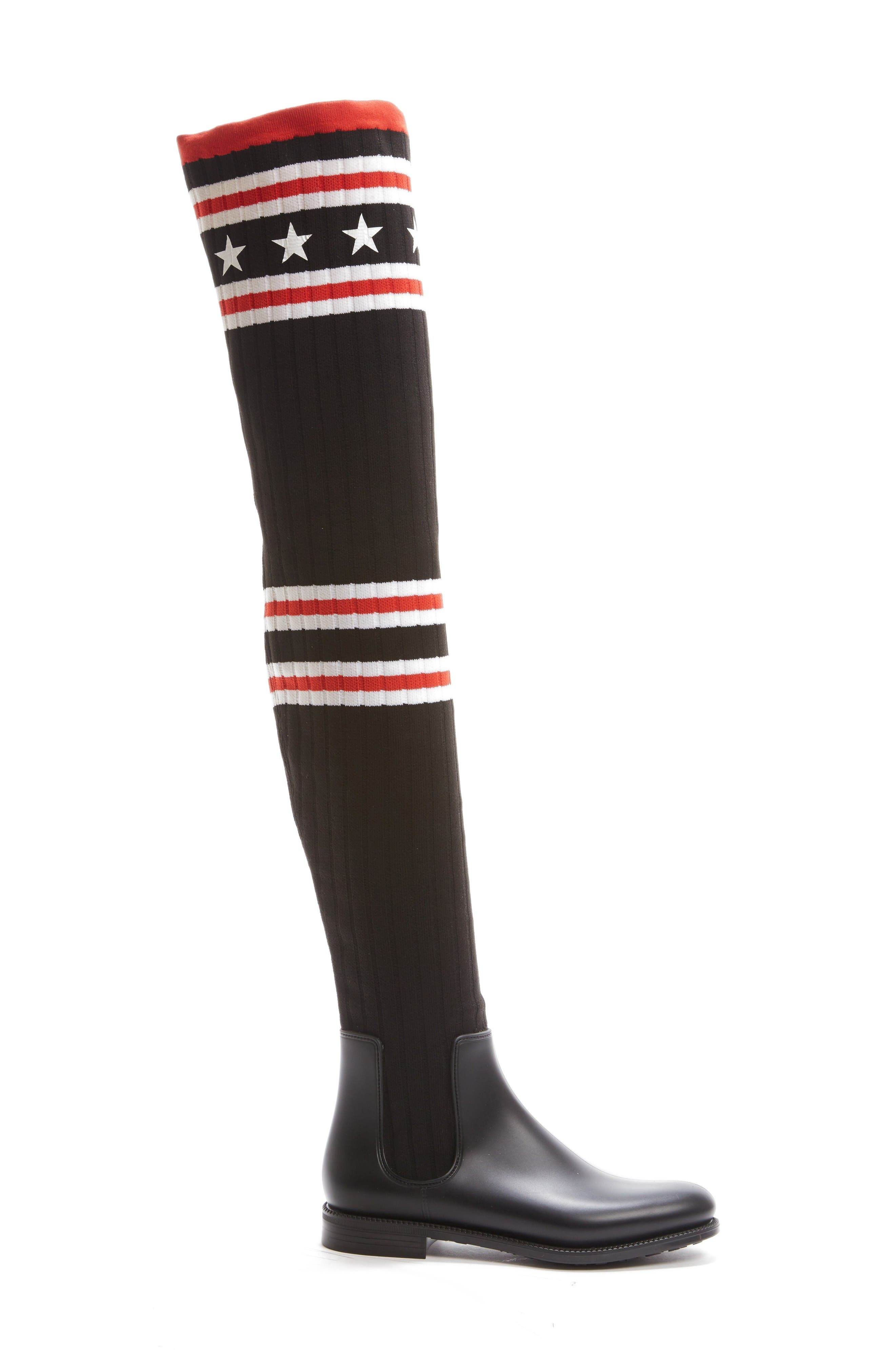 Storm Over the Knee Sock Boot,                             Alternate thumbnail 4, color,                             Black/ Red