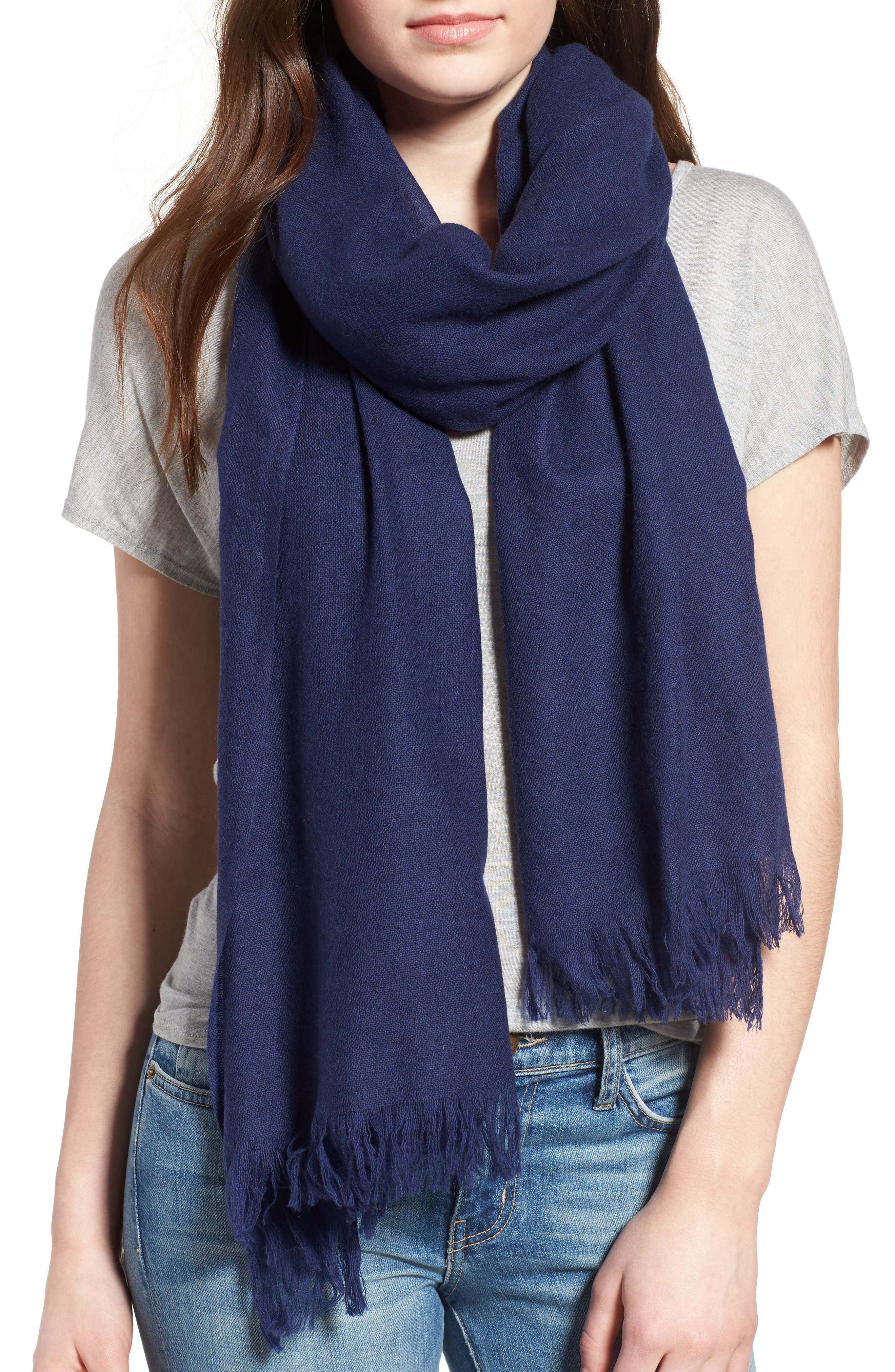 Caslon<sup>®</sup> Heathered Cashmere Gauze Scarf,                         Main,                         color, Navy Peacoat