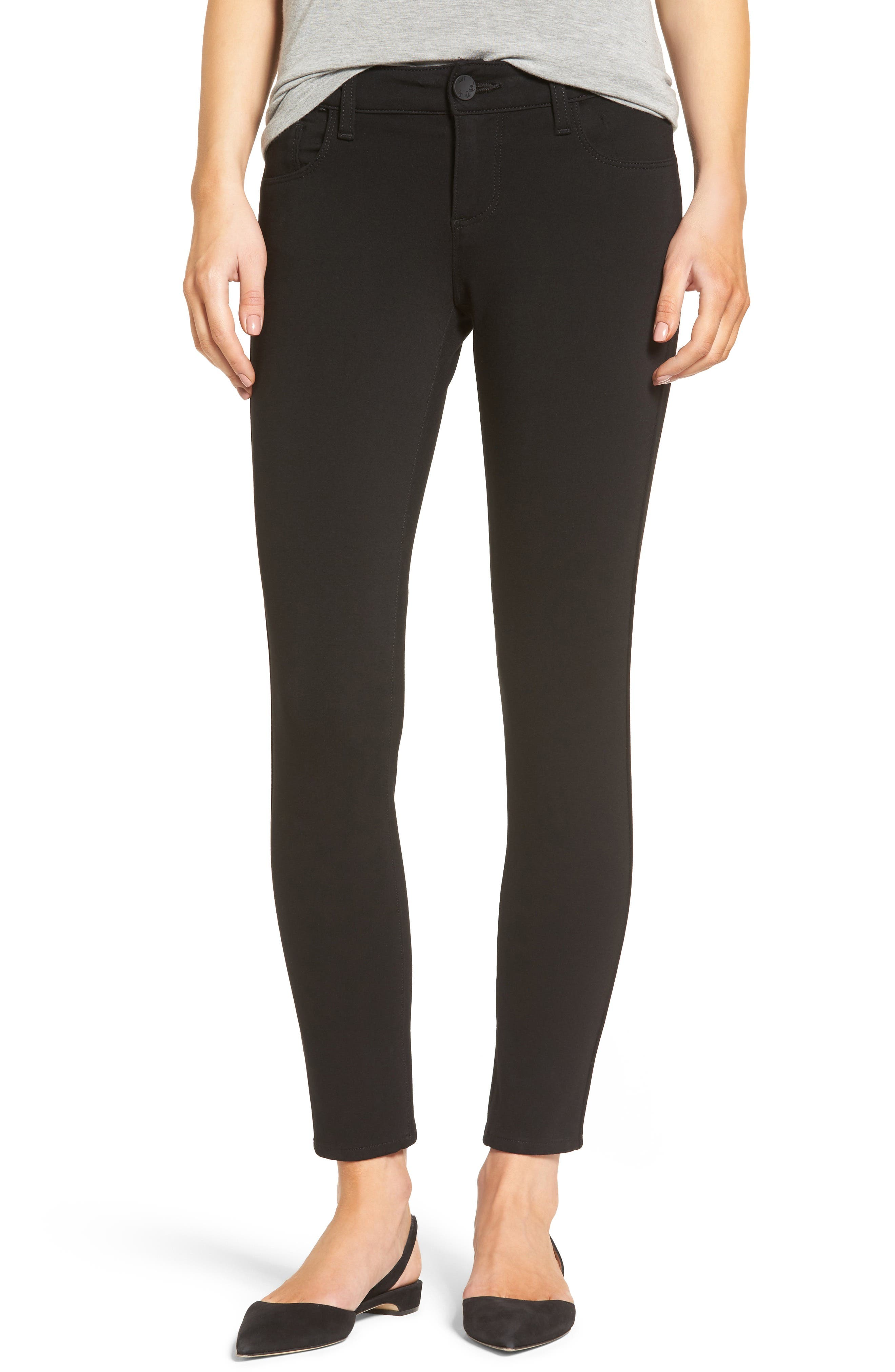 Donna Ponte Knit Skinny Jeans,                         Main,                         color, Black