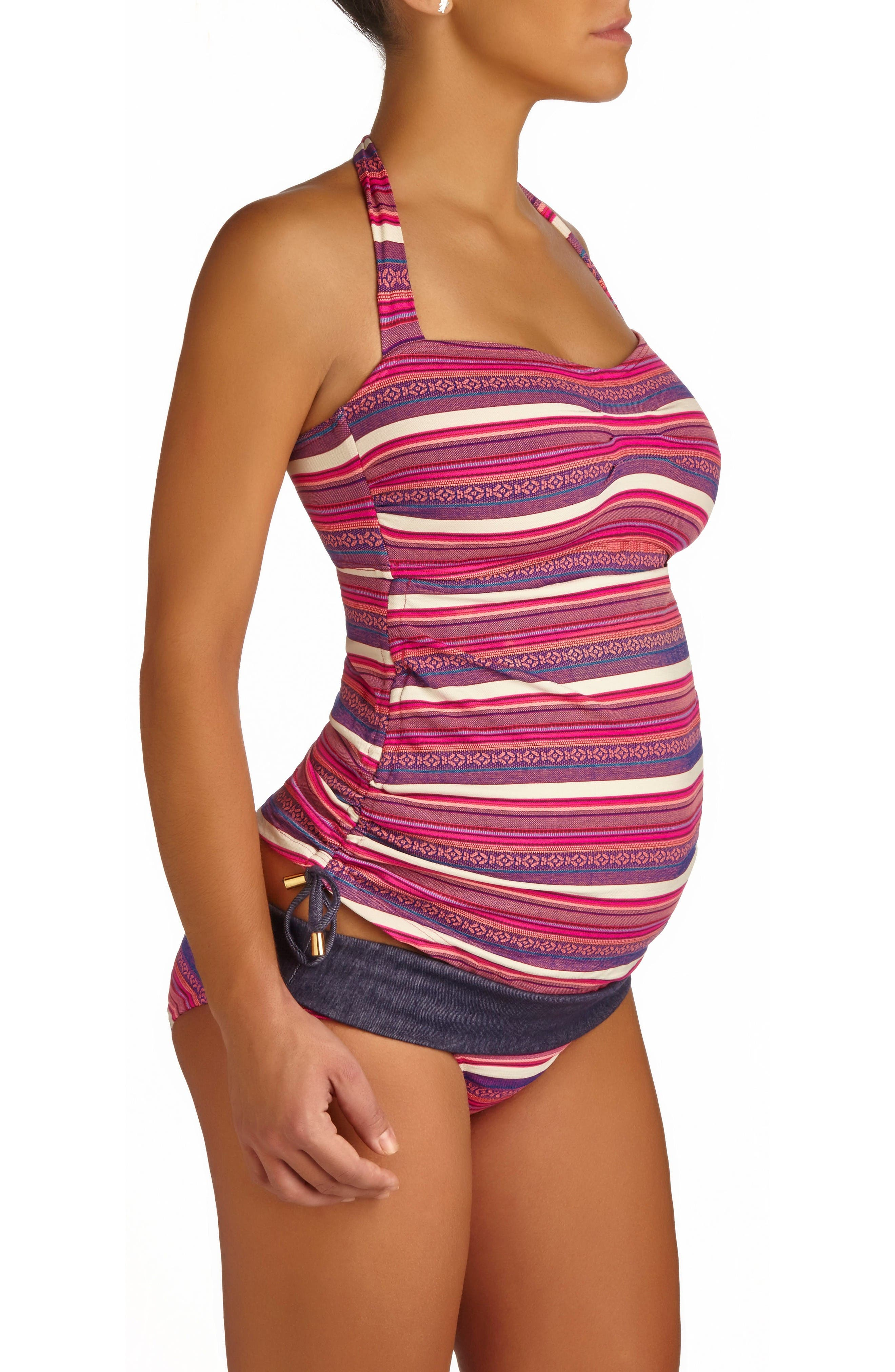Oaxaca Jacquard Tankini Maternity Swimsuit,                         Main,                         color, Fuchsia
