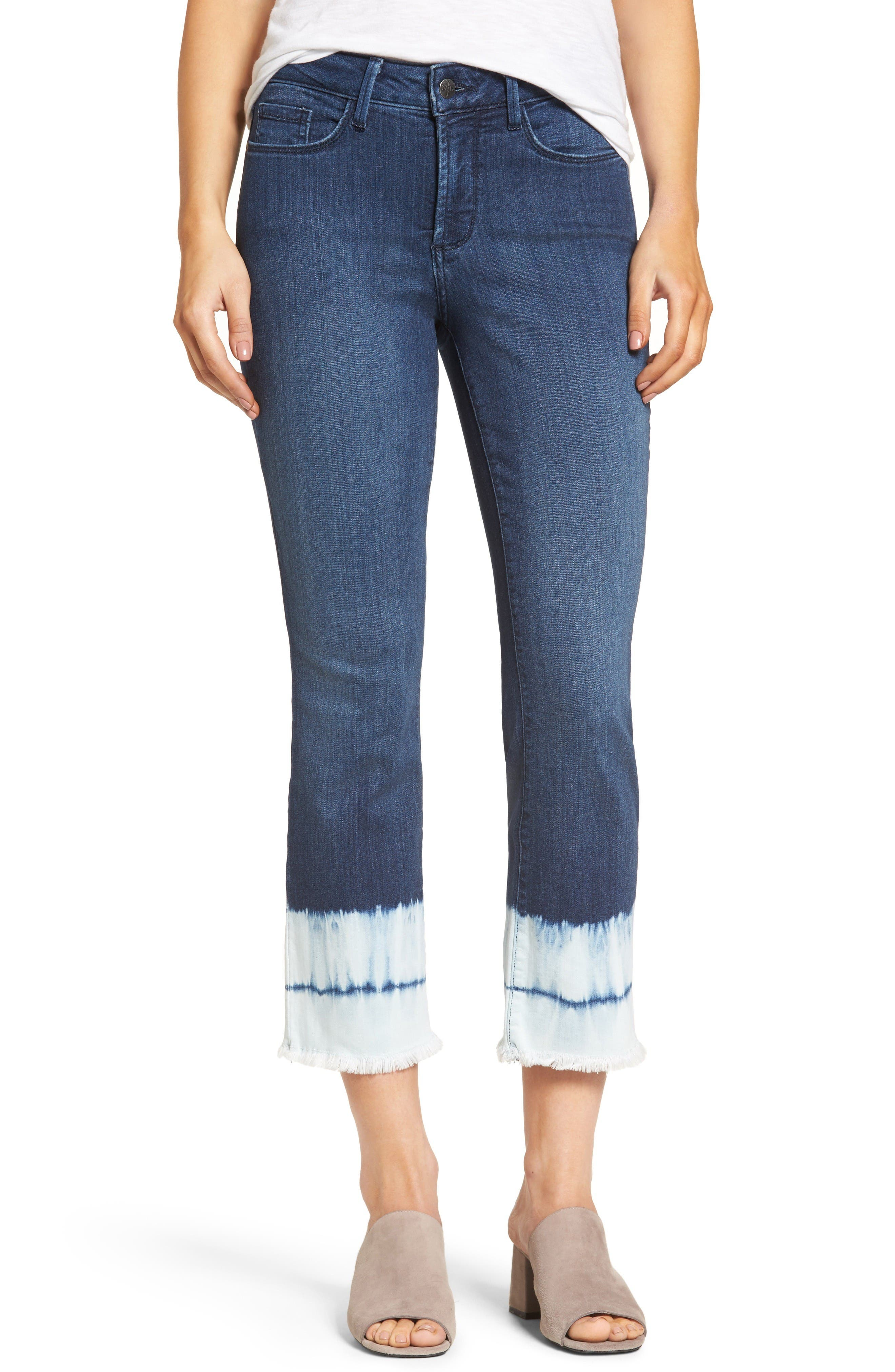 Alternate Image 1 Selected - NYDJ Billie Stretch Crop Bootcut Jeans (Bleached Tie Dye Hem)