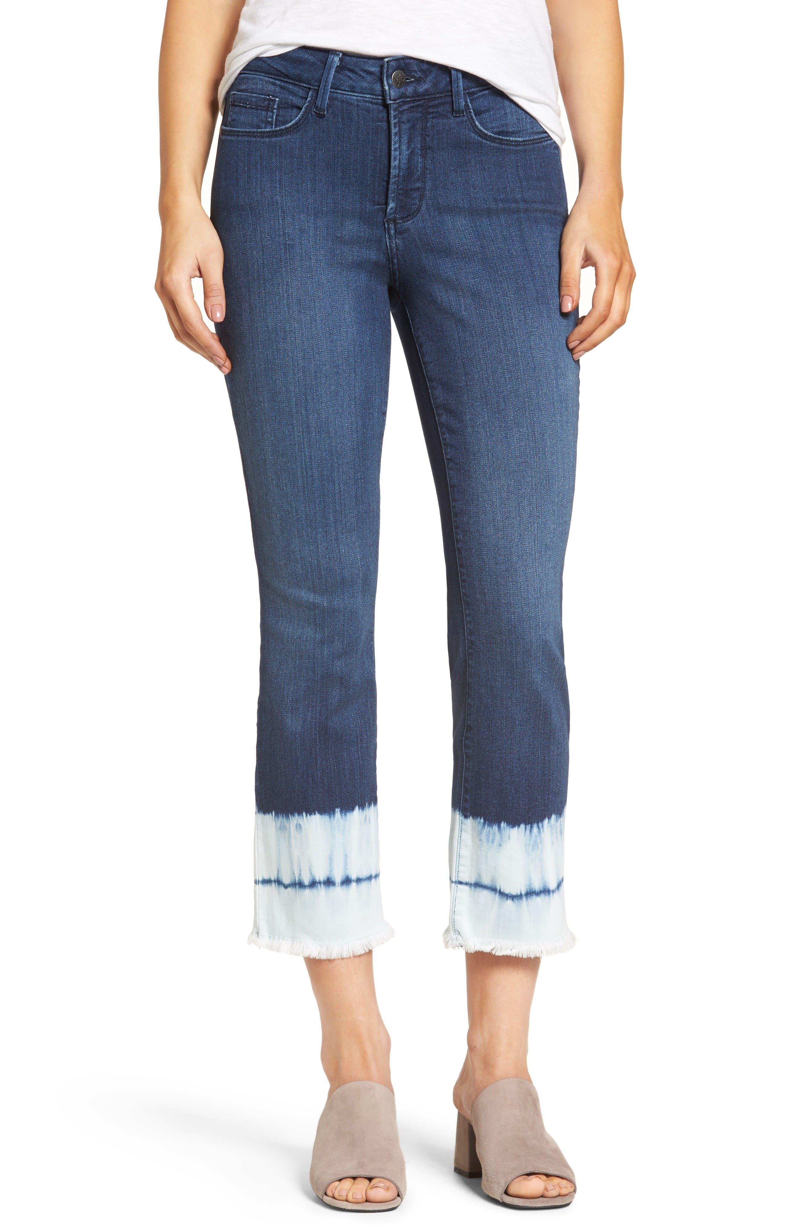 Billie Stretch Crop Bootcut Jeans,                         Main,                         color, Bleached Tie Dye Hem