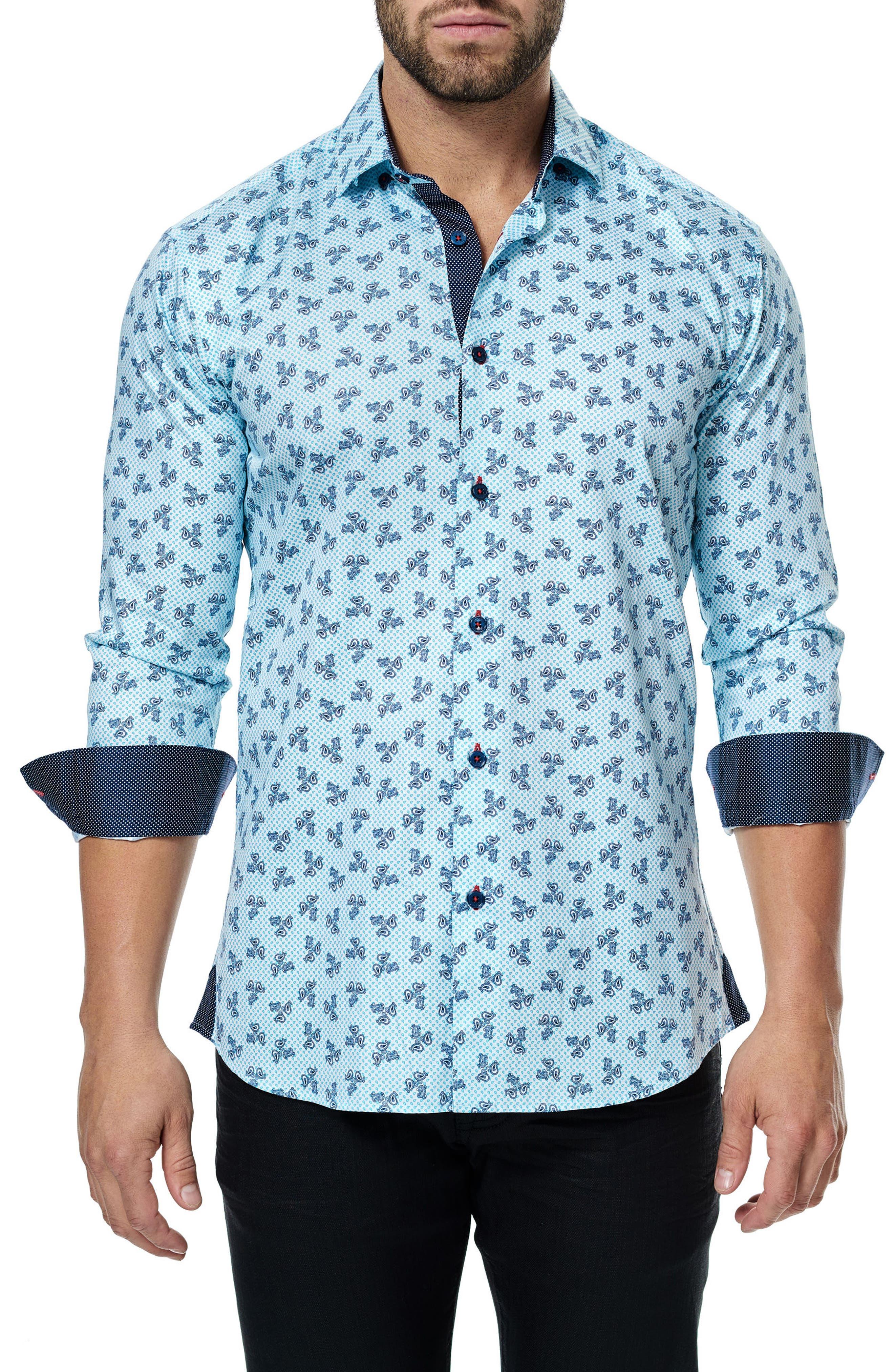 Class Paisley Trim Fit Sport Shirt,                             Main thumbnail 1, color,                             Turquoise