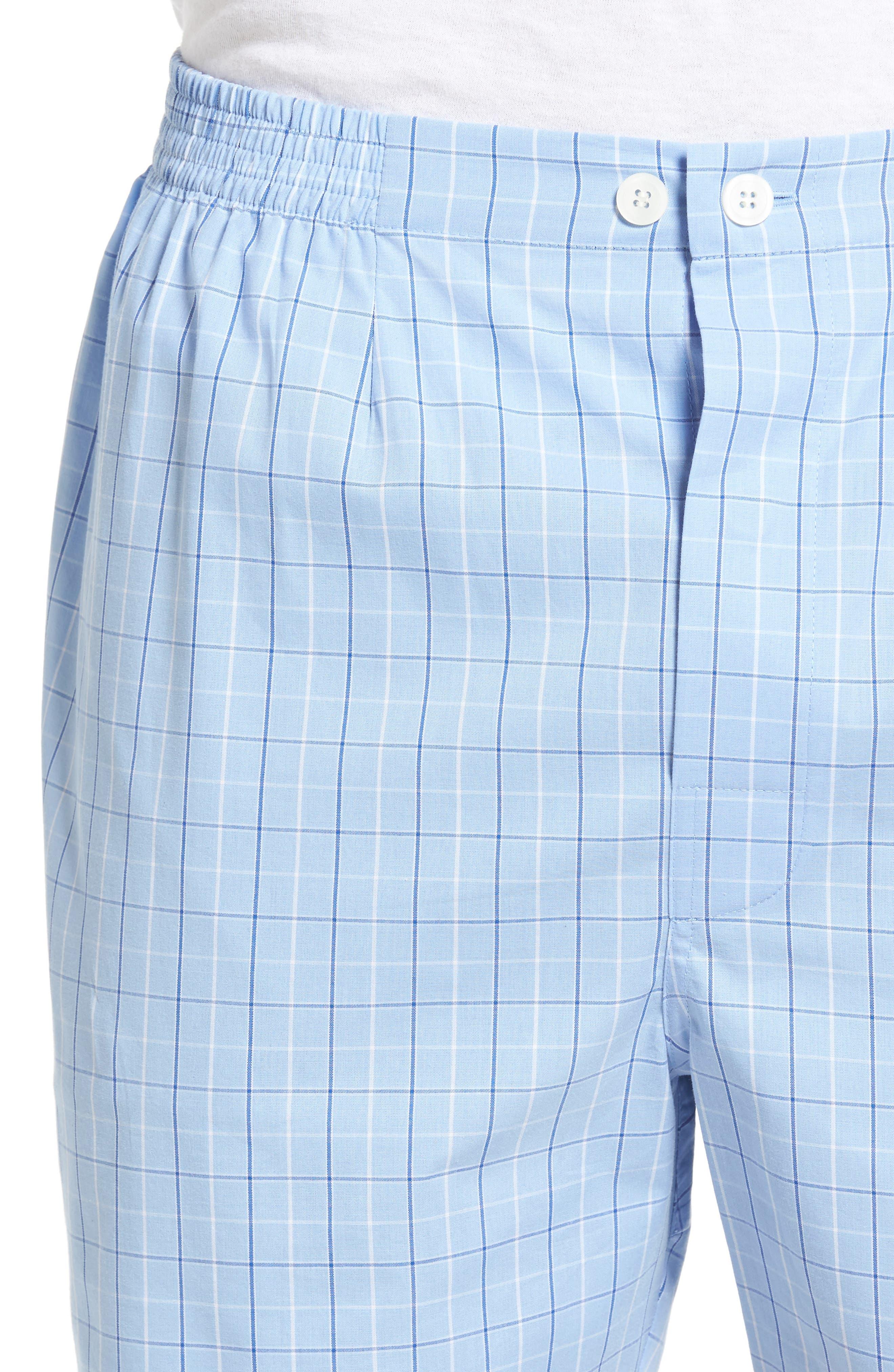 Cotton Short Pajamas,                             Alternate thumbnail 4, color,                             Light Blue Check