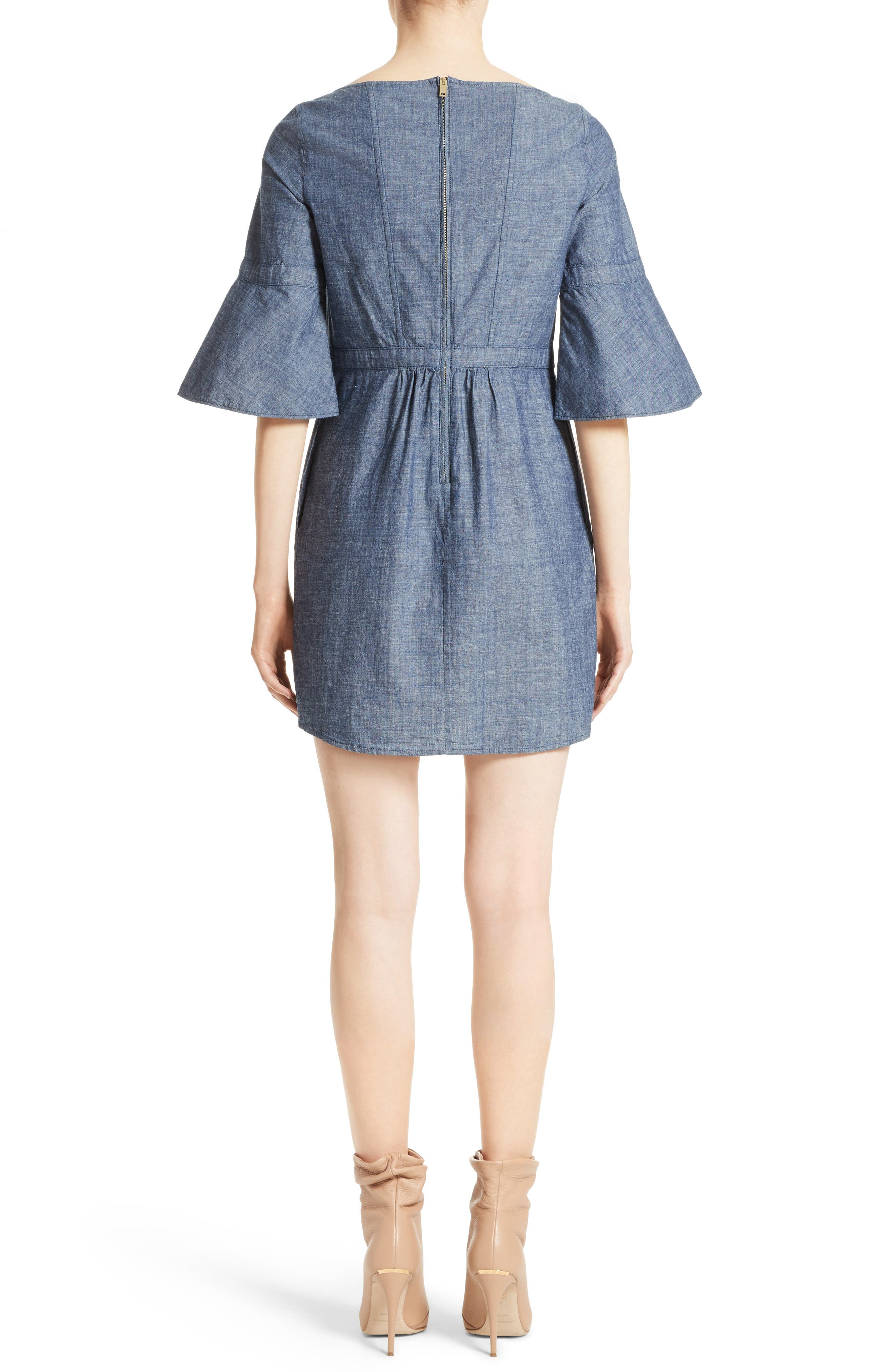Alternate Image 2  - Burberry Michelle Bell Sleeve Chambray Dress