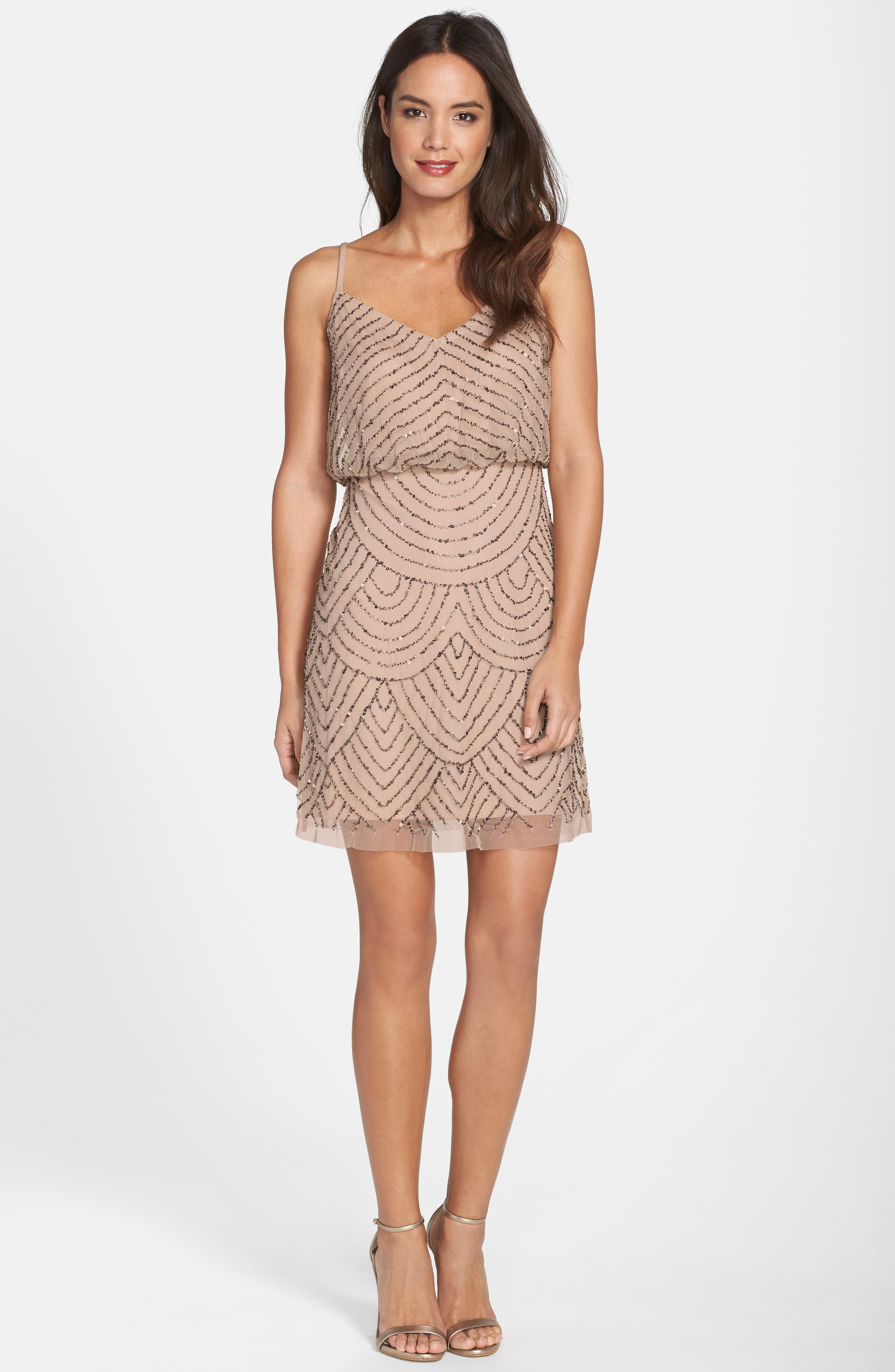 Sequin Mesh Blouson Dress,                             Alternate thumbnail 3, color,                             Taupe/ Pink