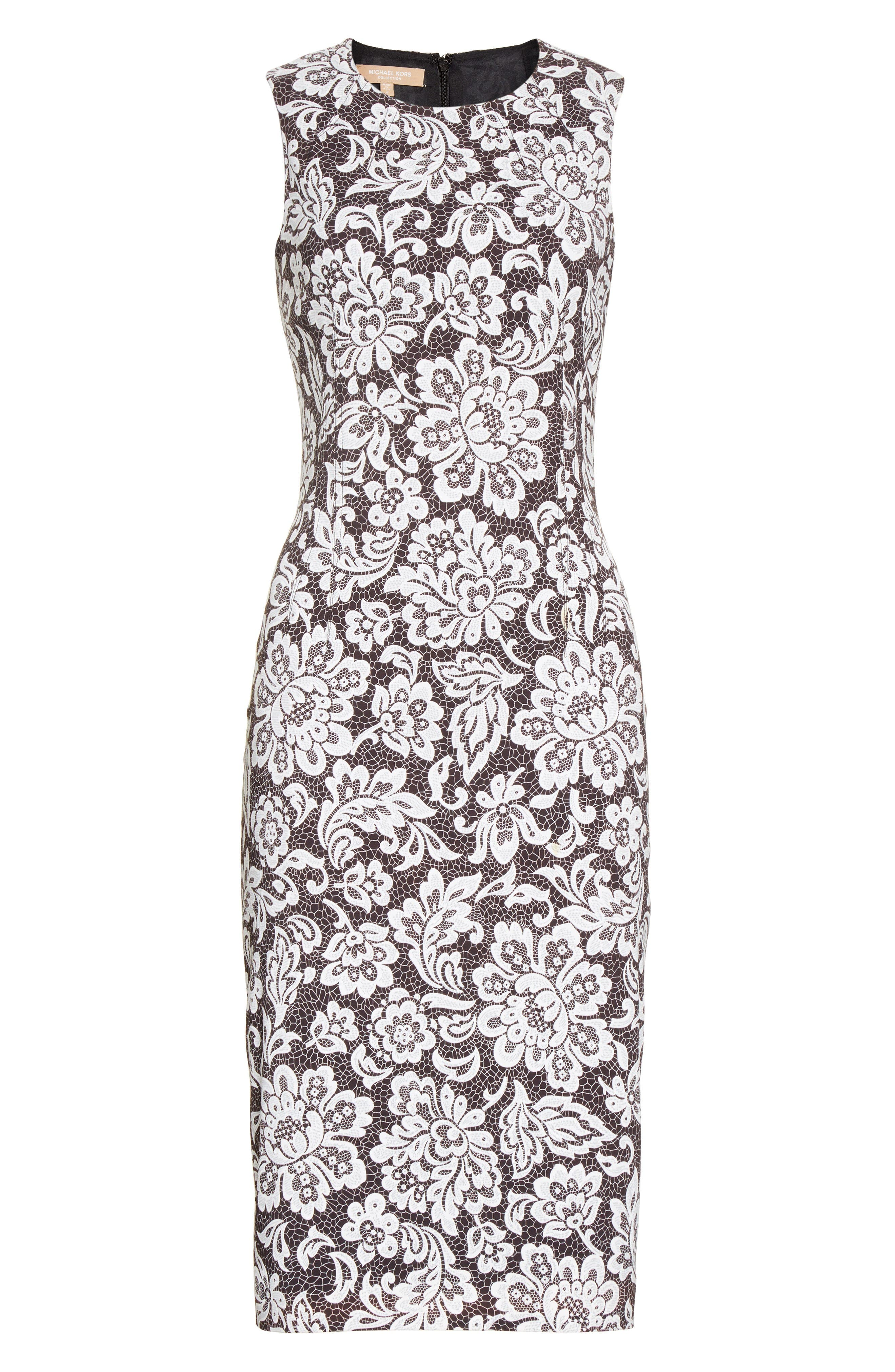 Alternate Image 4  - Michael Kors Stretch Cady Lace Print Sheath Dress