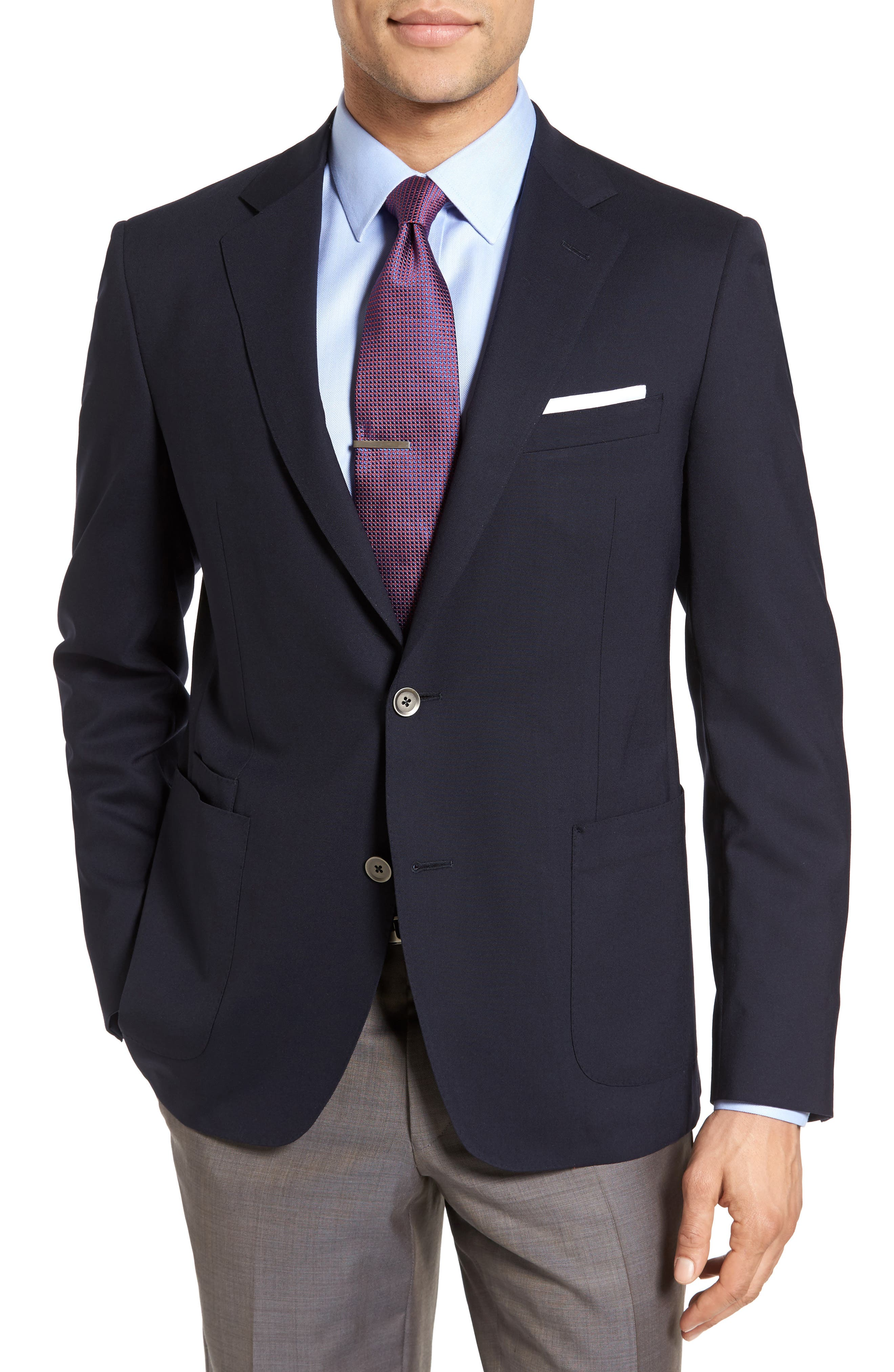 Classic Fit Stretch Wool Travel Blazer,                         Main,                         color, Navy