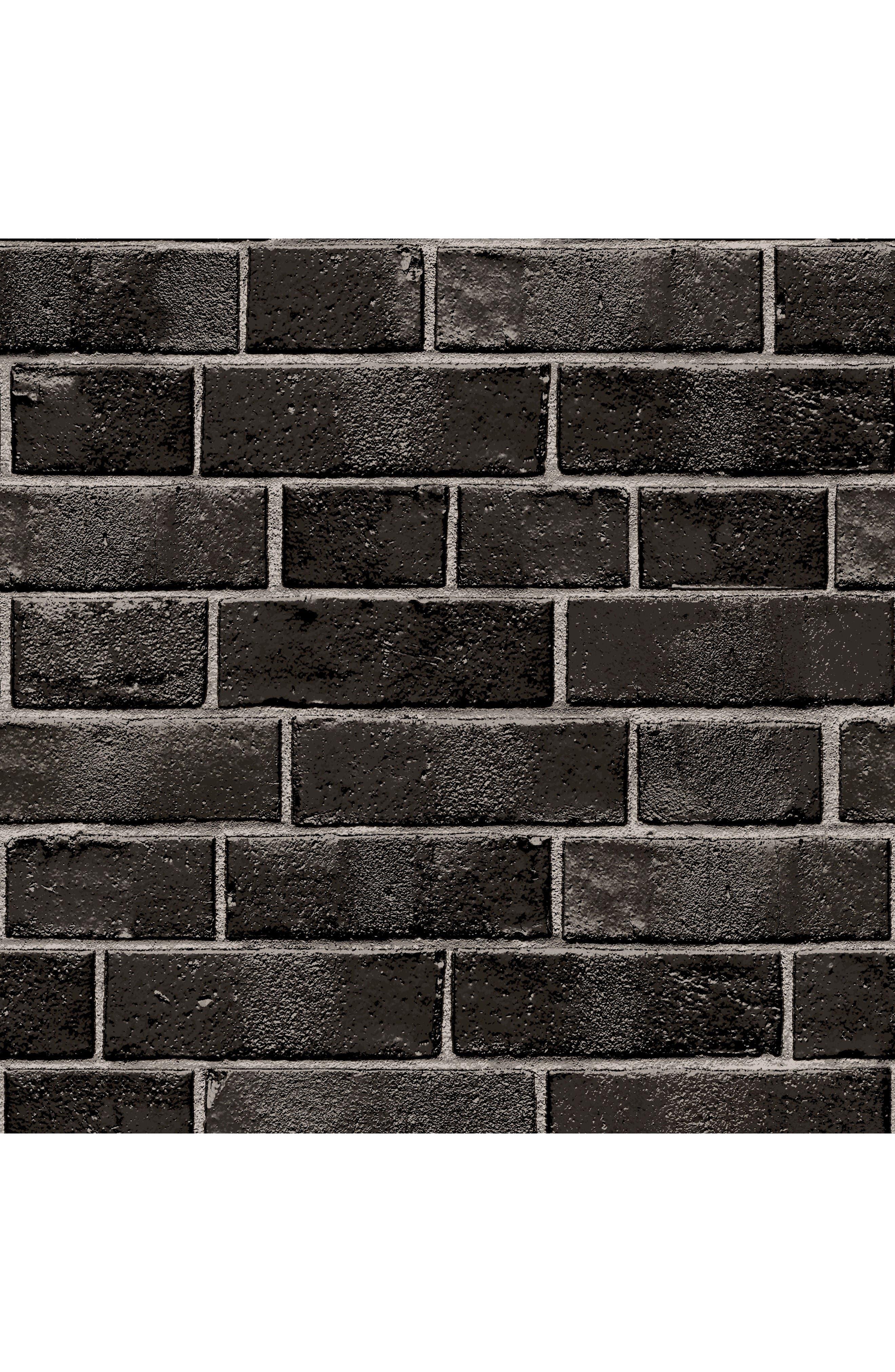 Brick Self-Adhesive Vinyl Wallpaper,                             Main thumbnail 1, color,                             Ebony