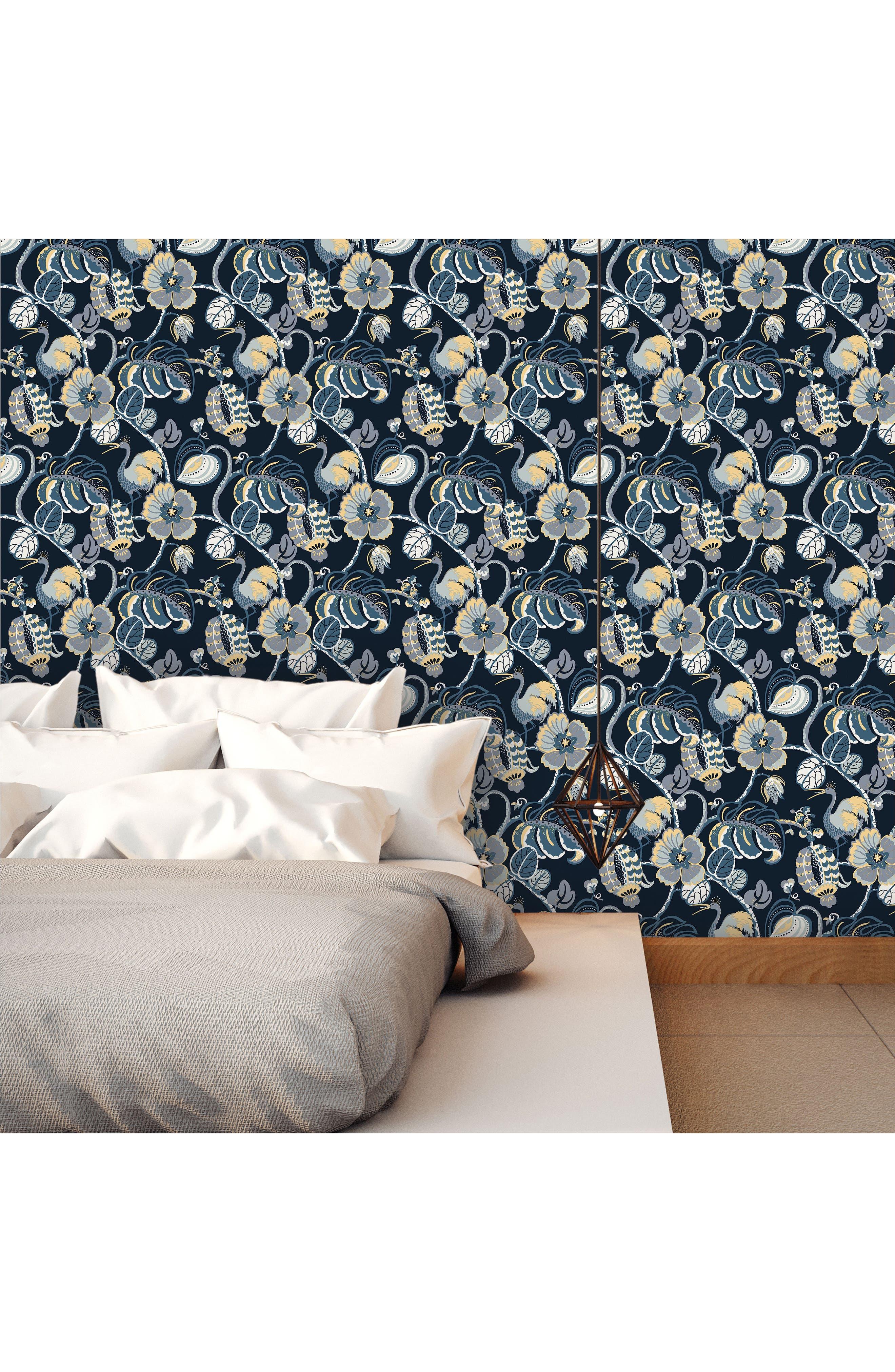 Tropical Fête Self-Adhesive Vinyl Wallpaper,                             Alternate thumbnail 2, color,                             Azure Blue
