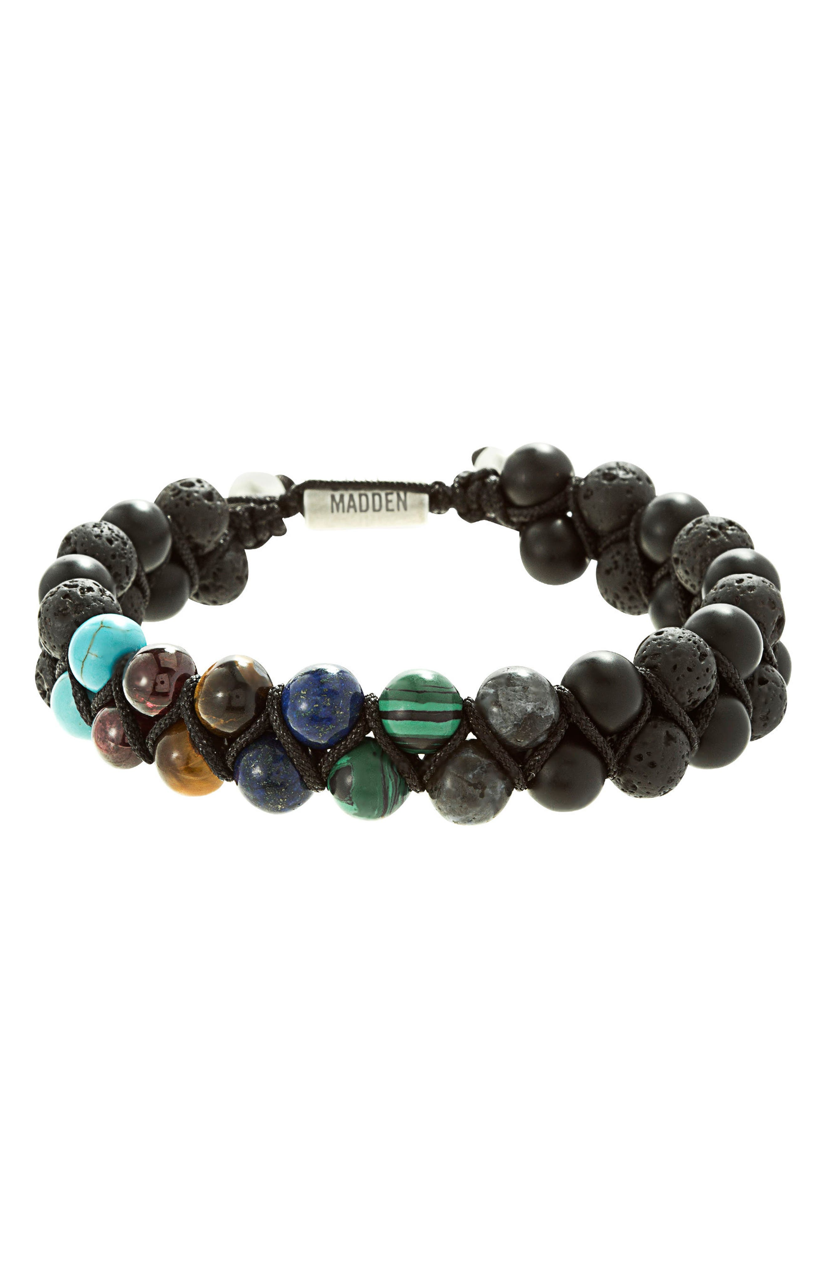 Stone Bead Bracelet,                             Main thumbnail 1, color,                             Black/ Multi