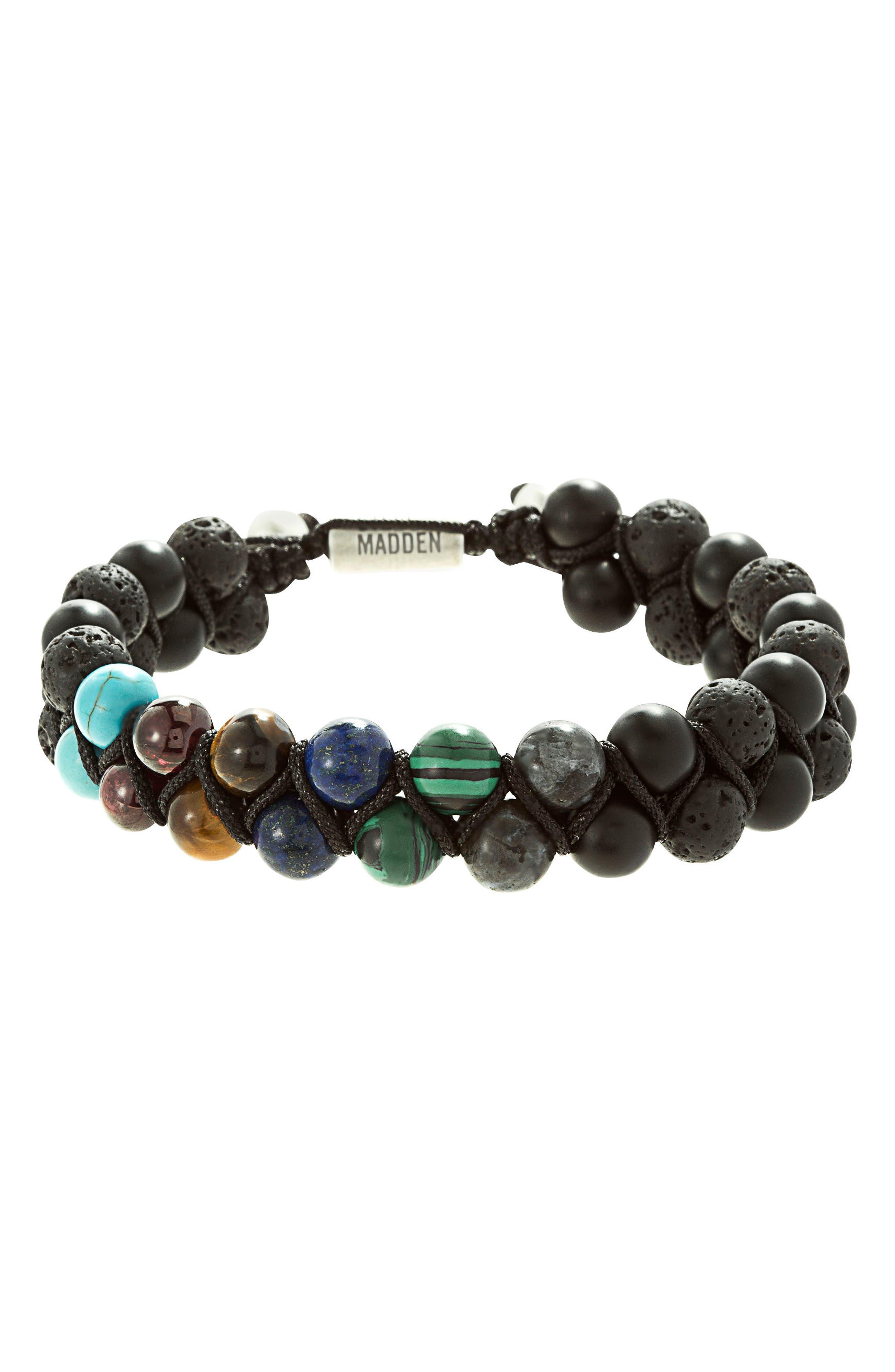 Stone Bead Bracelet,                         Main,                         color, Black/ Multi