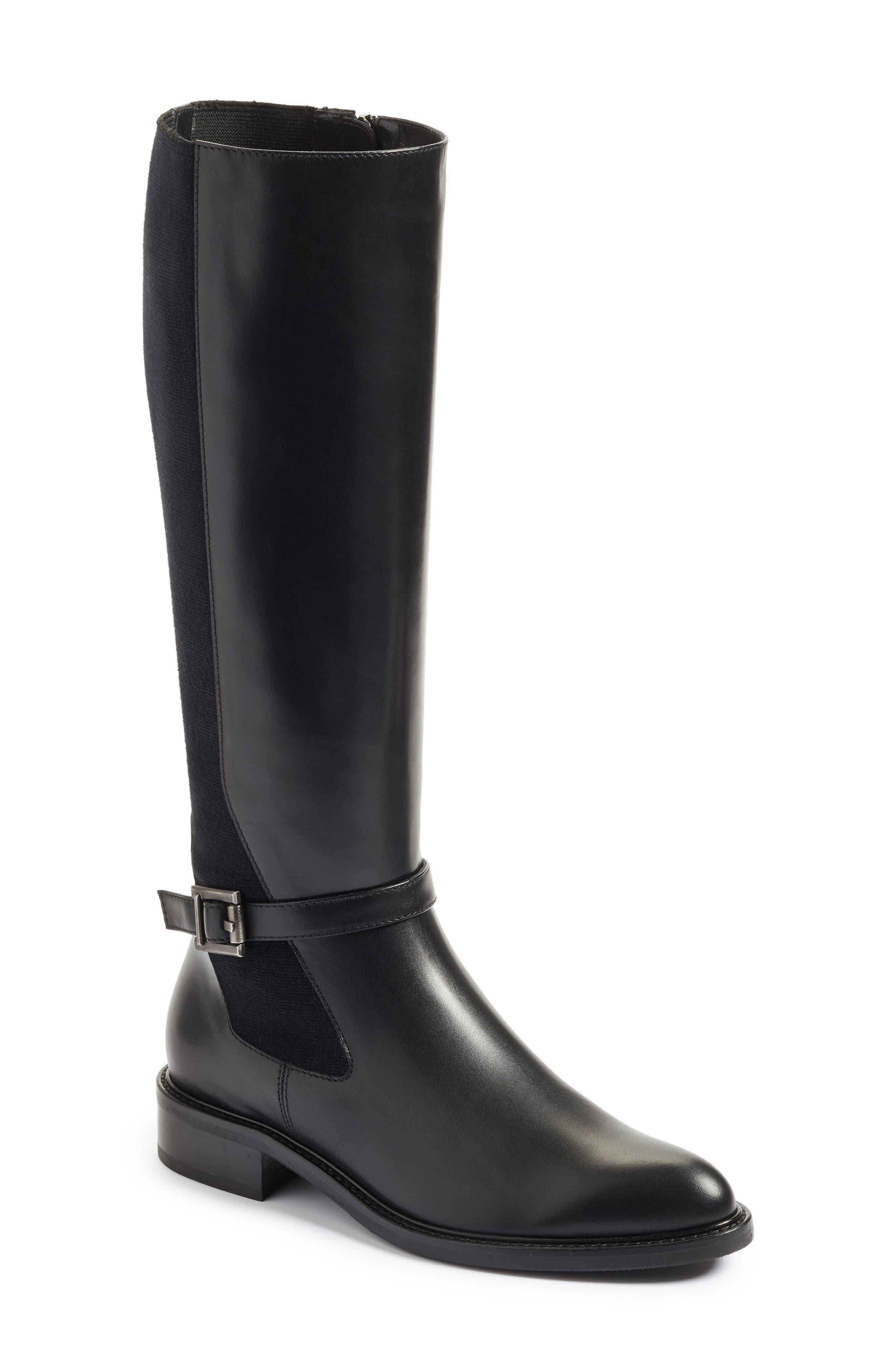 Genna Weatherproof Tall Boot,                         Main,                         color, Black Calf/ Elastic/ Suede
