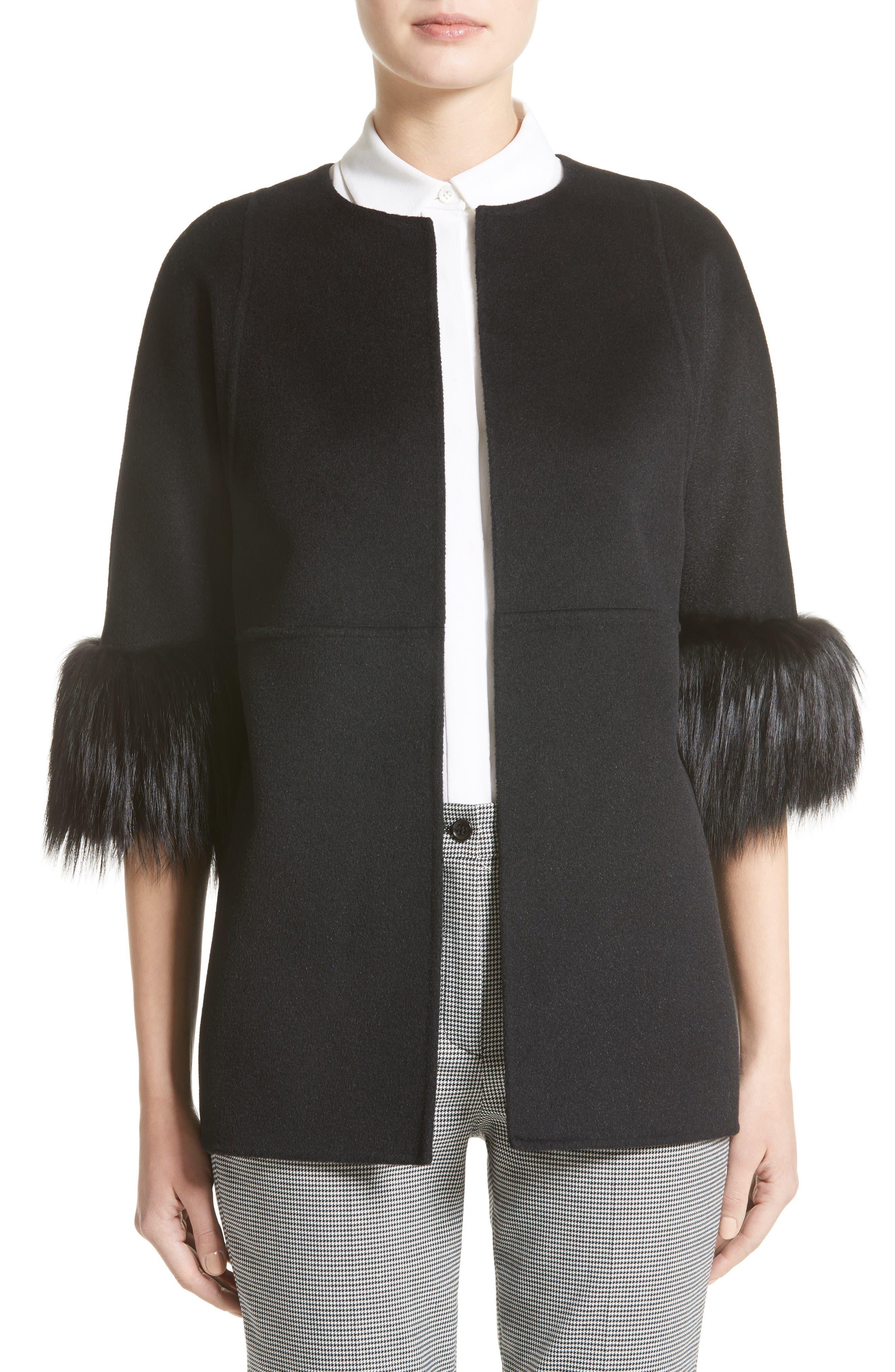 Genuine Fox Fur Trim Wool Blend Jacket,                         Main,                         color, Black